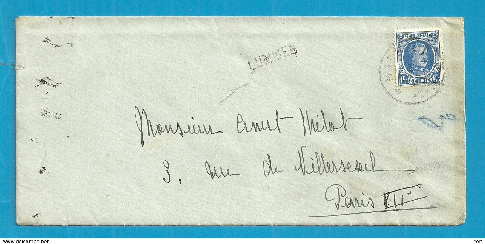 257 Op Brief Stempel HASSELT, Met Naamstempel (Griffe D'origine) LUMMEN - 1922-1927 Houyoux