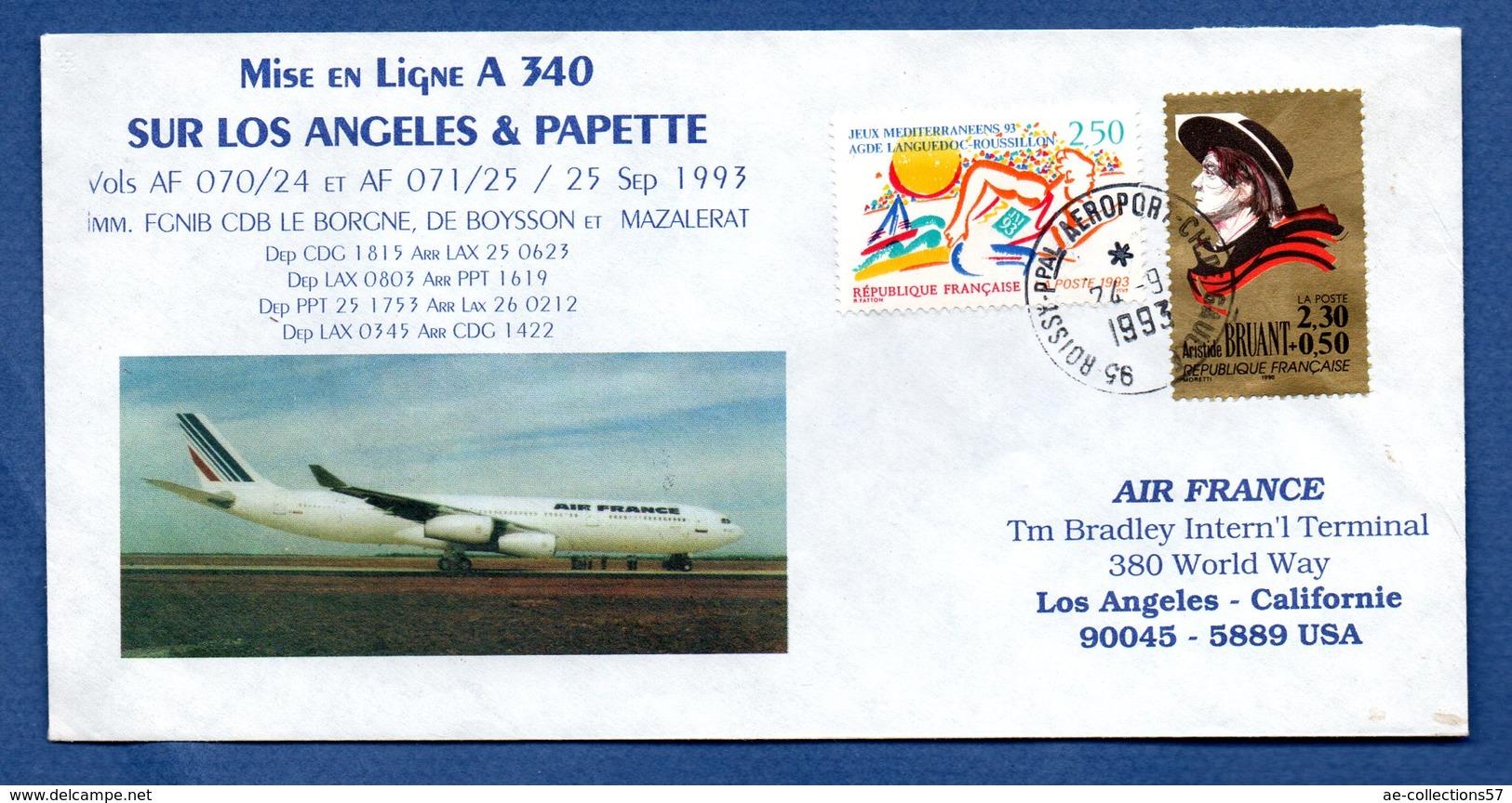 Enveloppe  / Mise En Ligne A 340 / Los Angeles Et Papette  / 1993 - FDC