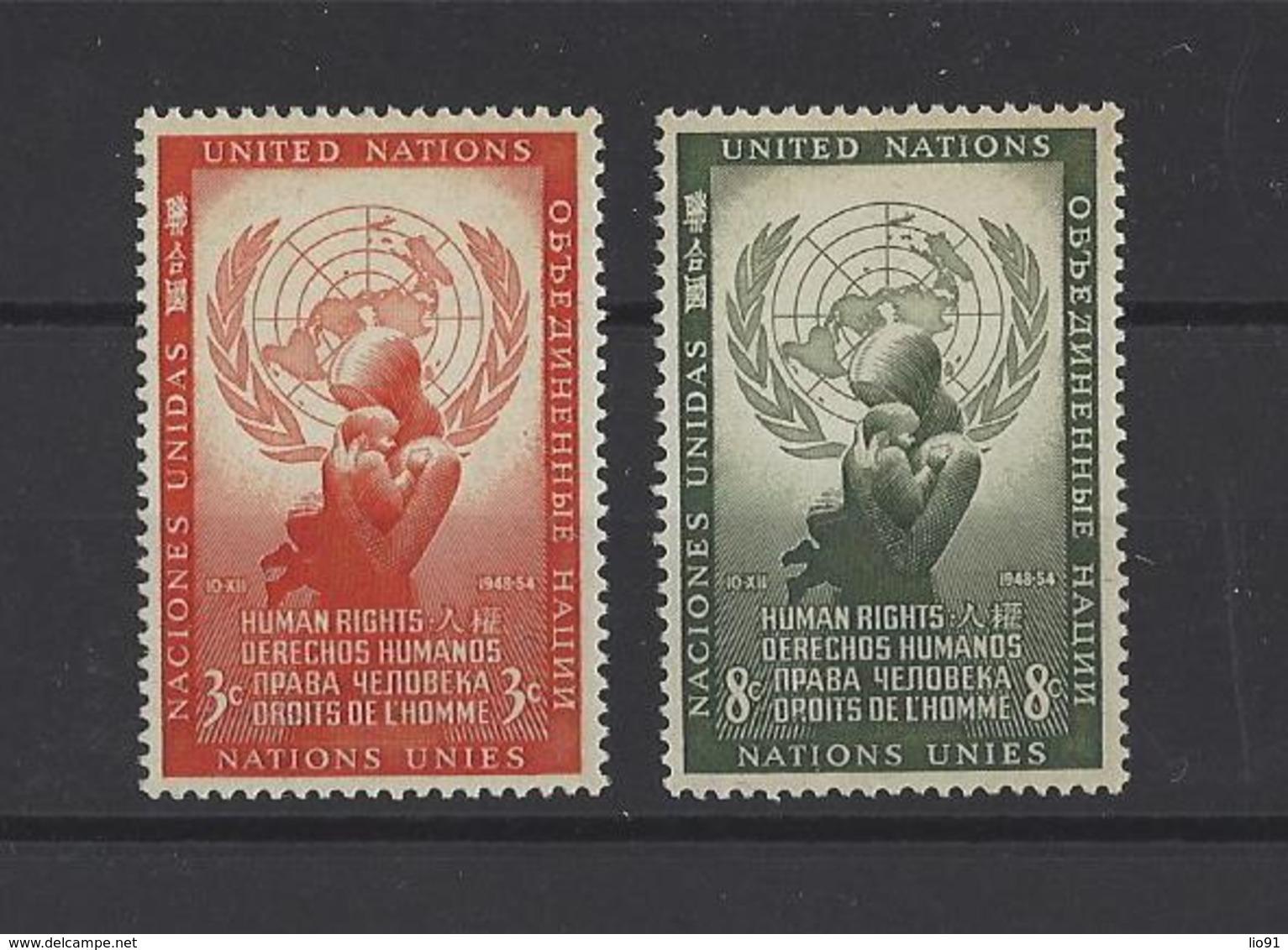 NATIONS UNIES New-York .  YT   N° 29/30  Neuf **  1954 - New York -  VN Hauptquartier