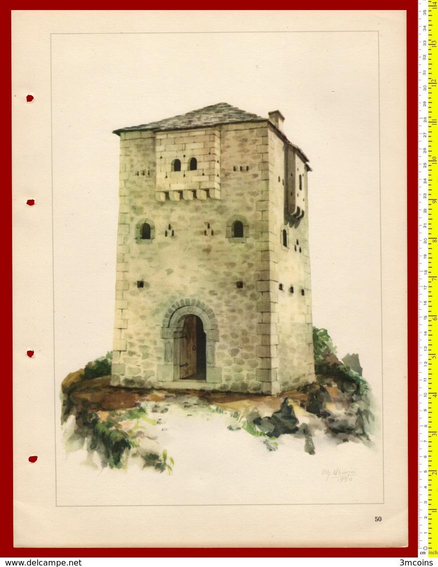 M3-37091 Albania 1956. Traditional Folk Art And Technique. Architecture. Genuine Lithograph Poster 35x26 Cm - Sonstige