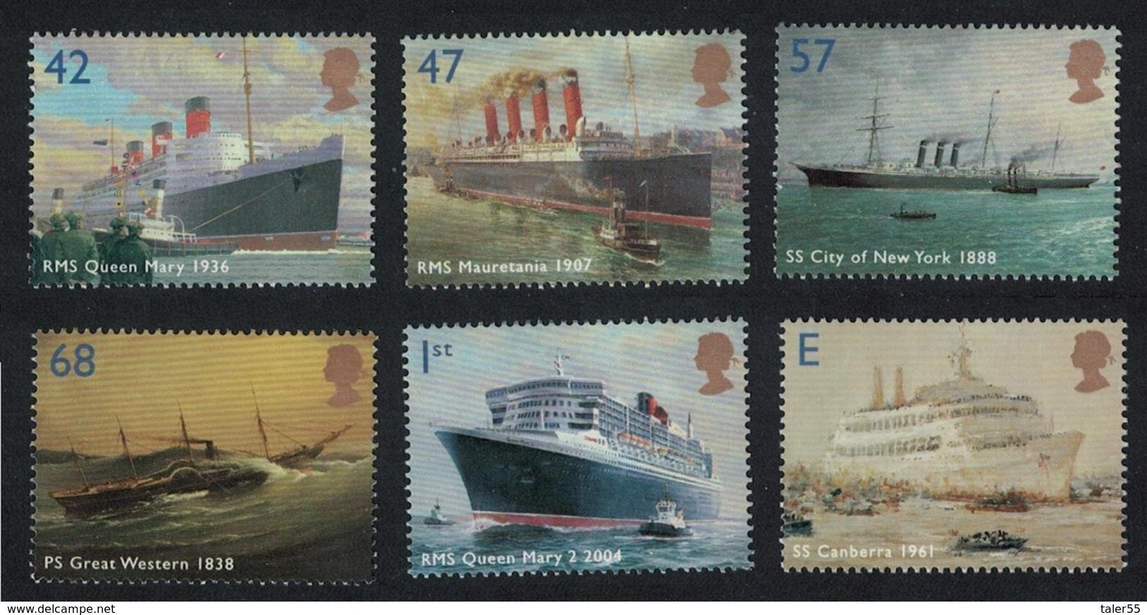 Great Britain Ocean Liners 6v MNH SG#2448-2453 SC#2202-2207 - 1952-.... (Elisabeth II.)