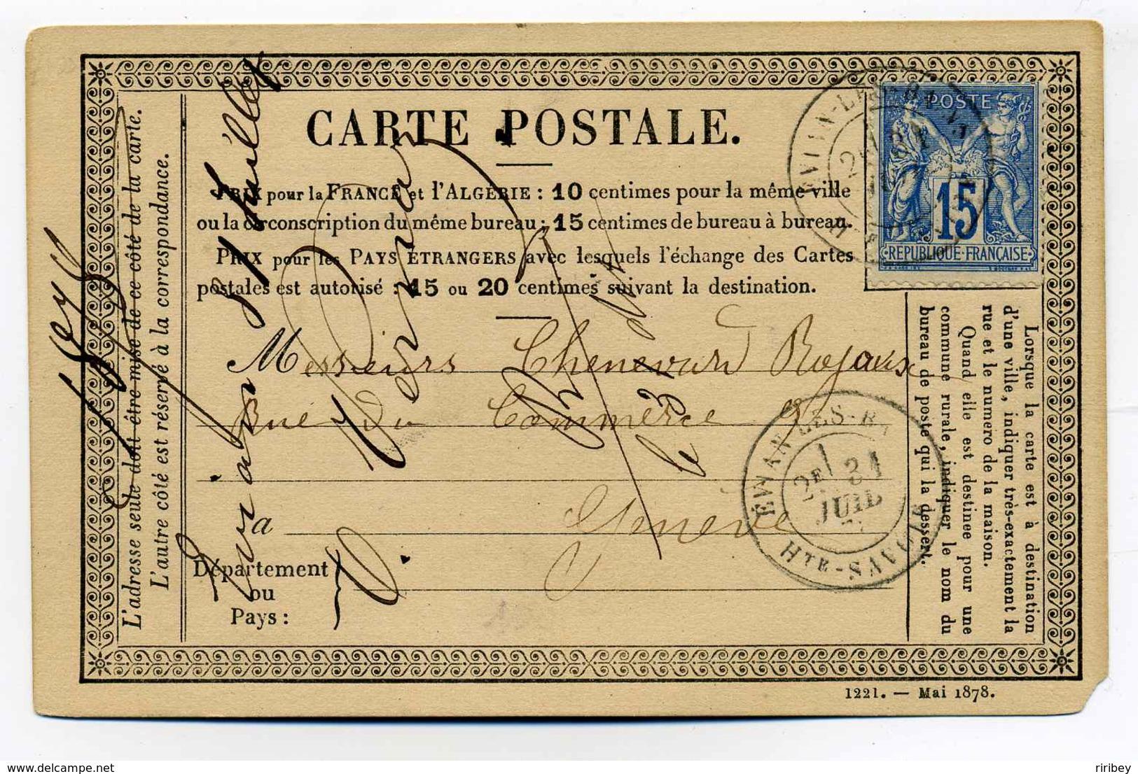 Carte Precurseur (CPO) : T18 EVIAN Les BAINS Sur TP SAGE 15c Bleu / Dept Haute Savoie /  Pour La Suisse / 1878 - Marcophilie (Lettres)