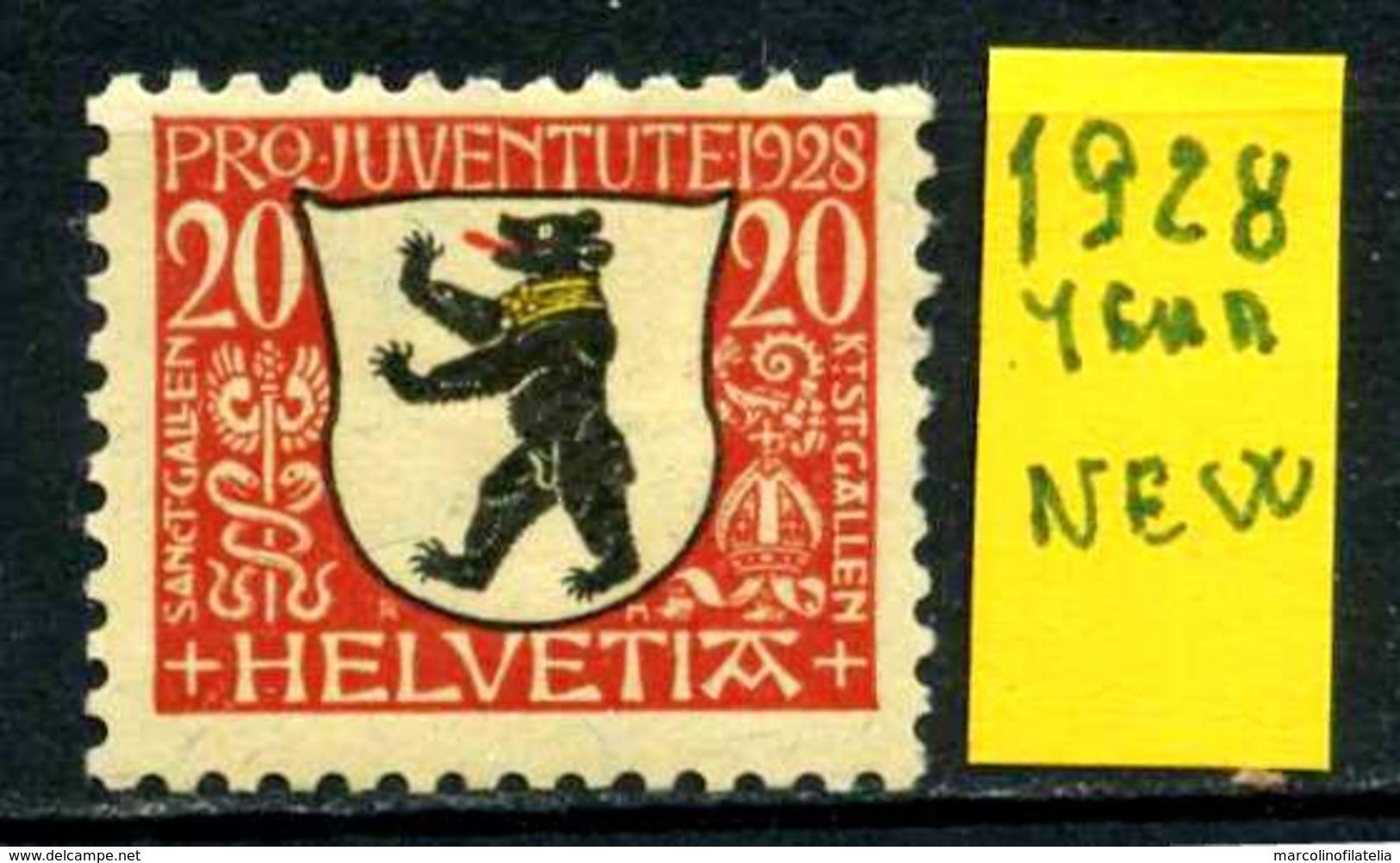 SVIZZERA - HELVETIA - Year 1928 - Nuovo - New - Fraiche - Frisch - MH. - Svizzera