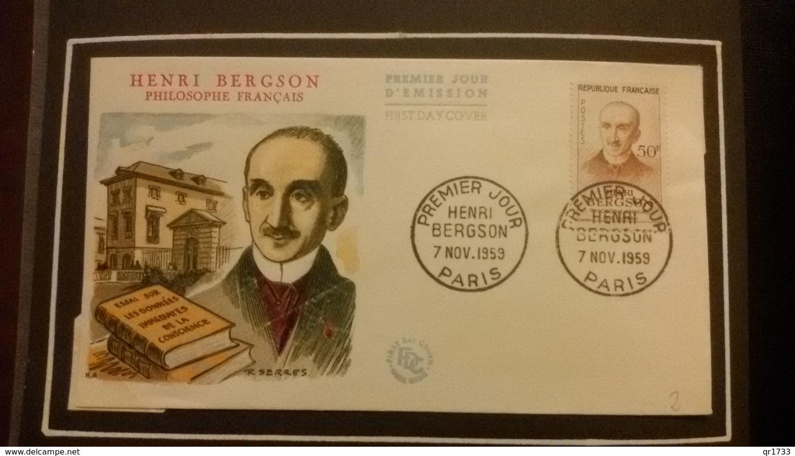 1°  Jour.d'émission..FDC ..1959 ..   HENRI  BERGSON  Philosophe - Joint Issues