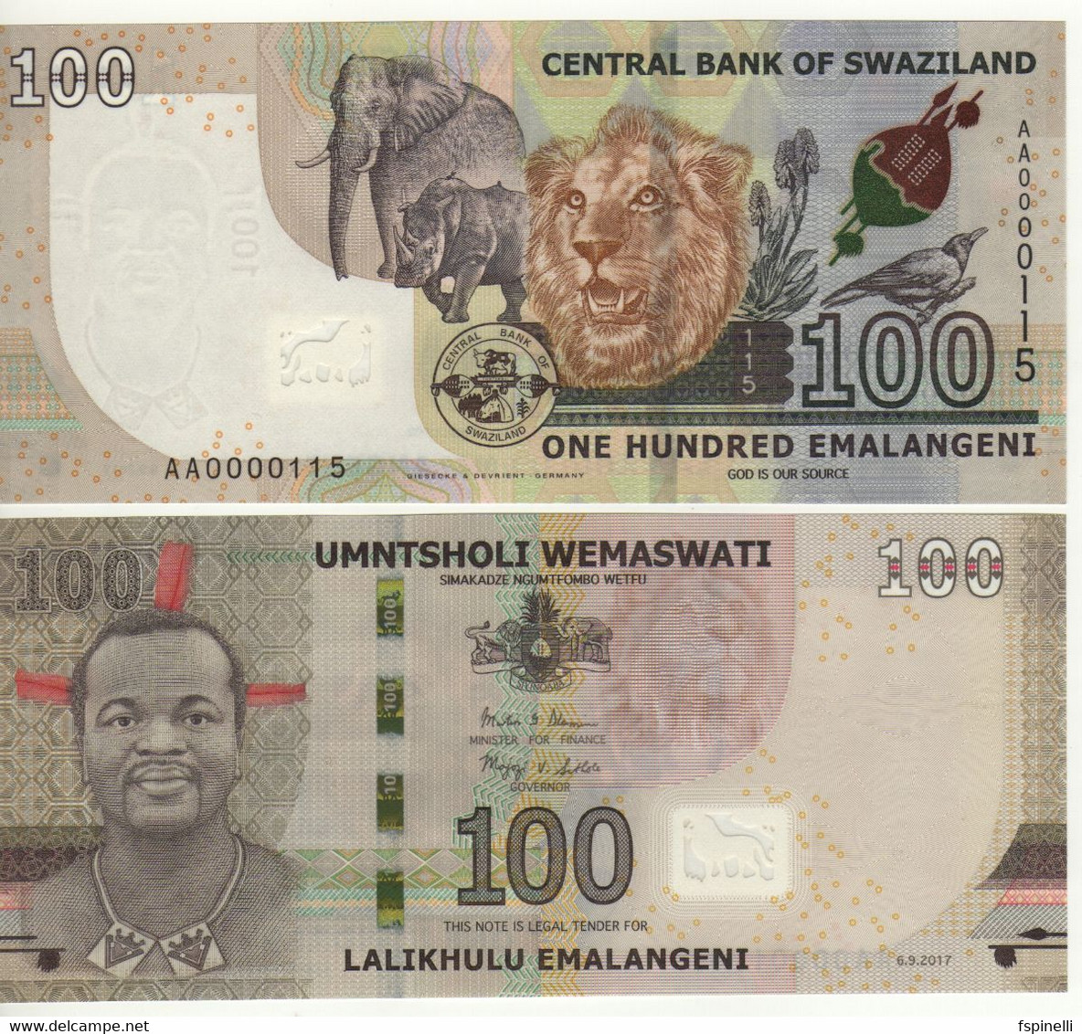 SWAZILAND New 100  Emalangeni   6.9.2017  LOW SERIAL Nr.  AA0000125  Pnew  UNC - Swaziland