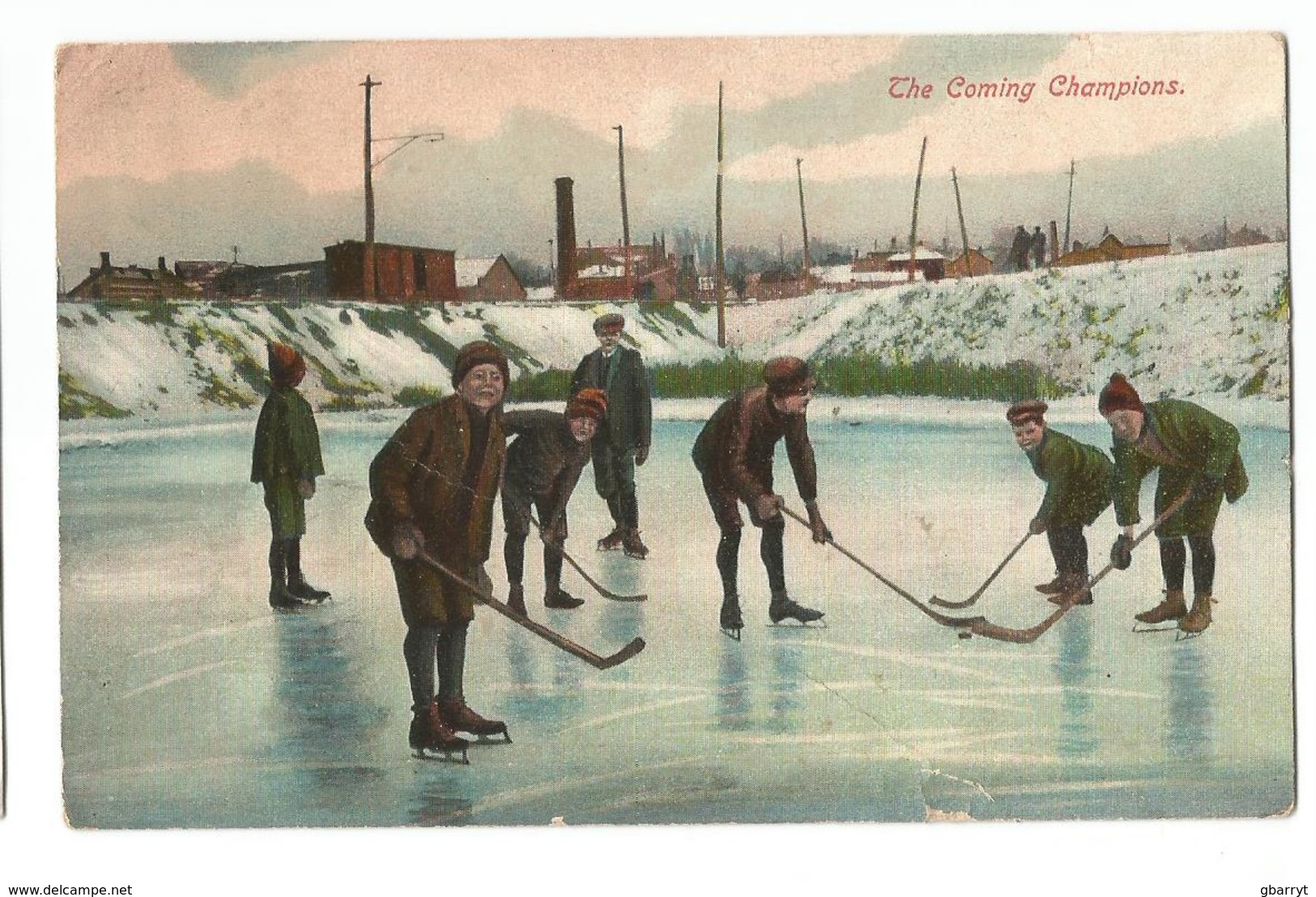 Kids Playing Pond Hockey.........(dr4) - Cartes Postales