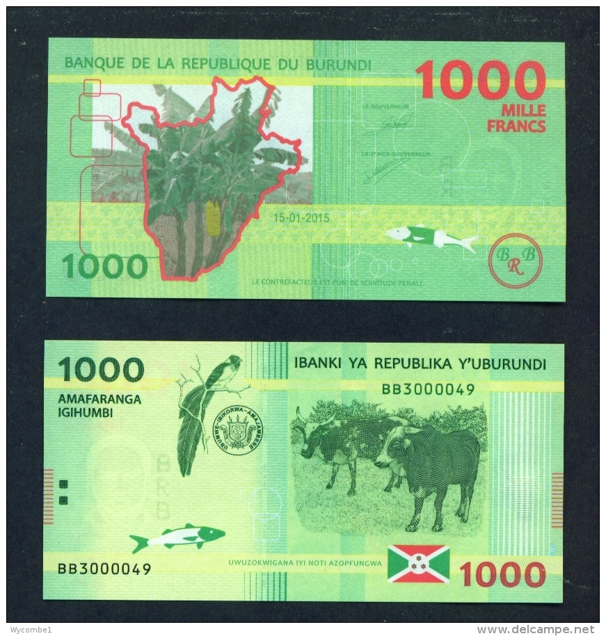 BURUNDI  -  2015  1000 Francs  UNC  Banknote - Burundi