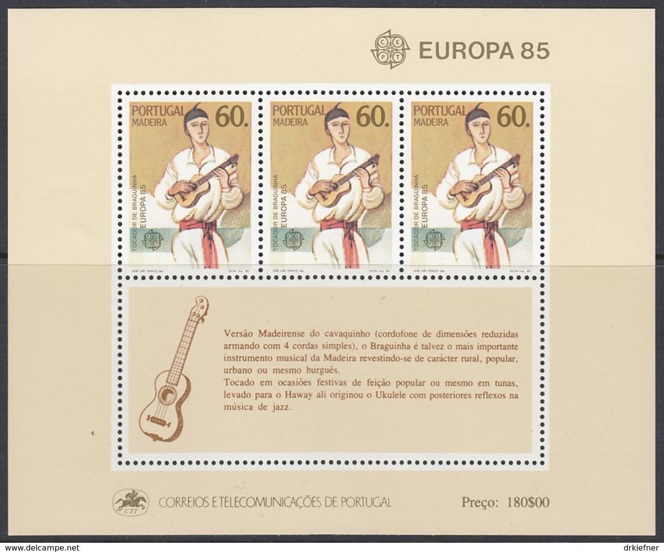 MADEIRA Block 6, Postfrisch **, Europa CEPT:  Musik 1985 - Europa-CEPT