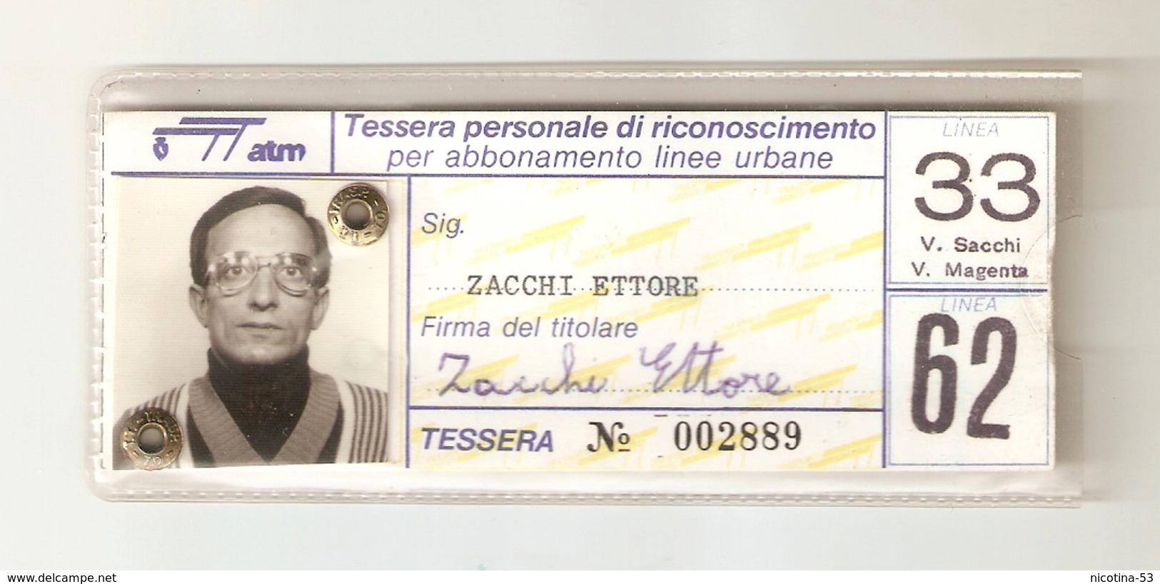 BIGL--00055-- TESSERA PERSONALE DI RICONOSCIMENTO PER ABBONAMENTO LINEE URBANE- LINEE 33-62  GTT TORINO - Europa
