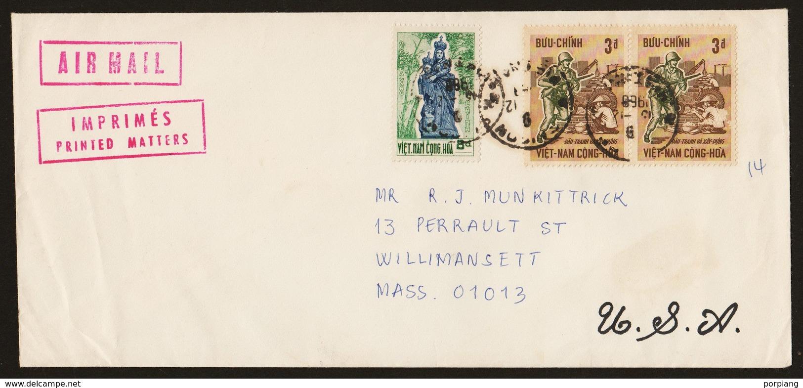 1968 Letter From Saigon South Vietnam To Mass USA - Viêt-Nam