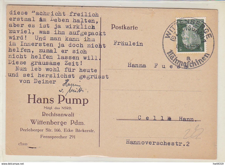 Drucksache Eines Anwalts Aus WITTENBERGE (Bz.Potsdam) 5.11.43 A Nähmaschinen / ńach Celle - Kofpst. H.. Marke - Briefe U. Dokumente