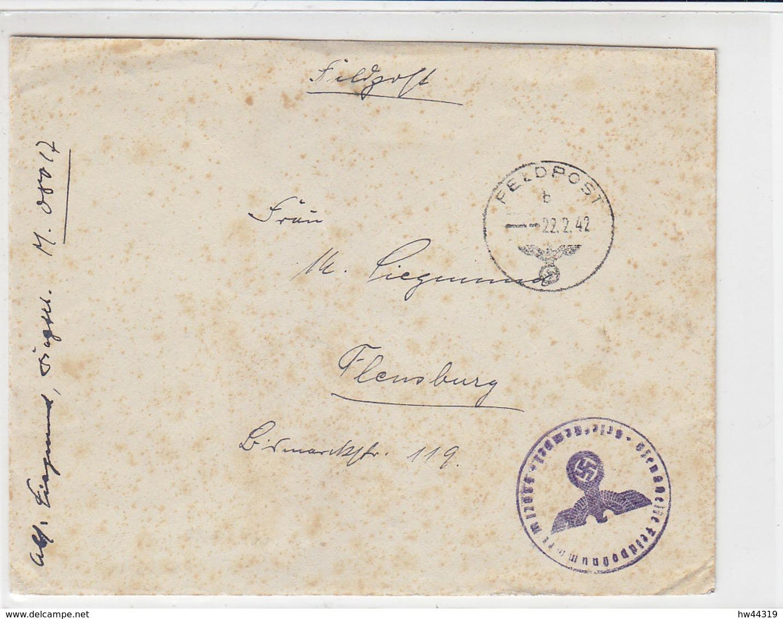 """Feldpost Vom Vorpostenboot """"V1506"""" (Le Havre) 22.2.42 Nach Flensburg / Stockig - Briefe U. Dokumente"""