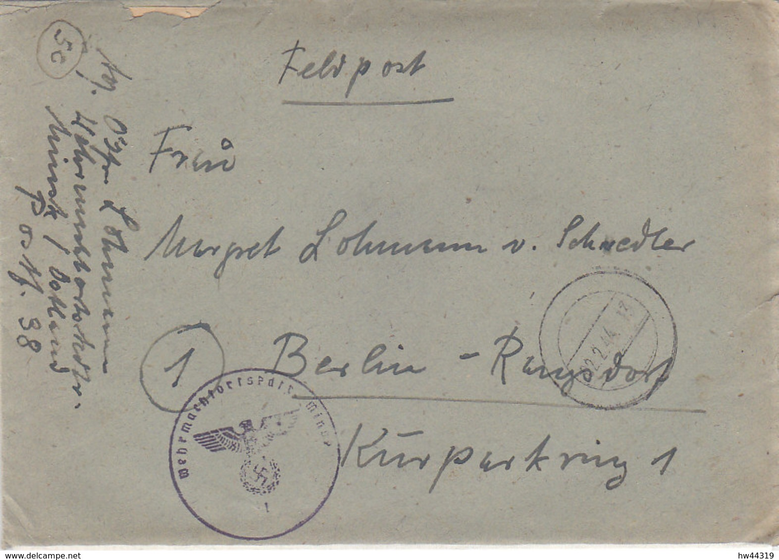 Feldpost Von Der Wehrmachtsortskommandantur MINSK / Ostland 2.2.44 Mit Viel Inhalt - Briefe U. Dokumente