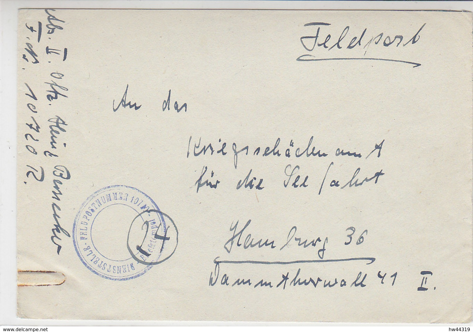 Feldpost Von Fp.Nr. 10720 - Triest/Italien 1944 Nach Hamburg An Das Kriegsschädenamt .. - Briefe U. Dokumente