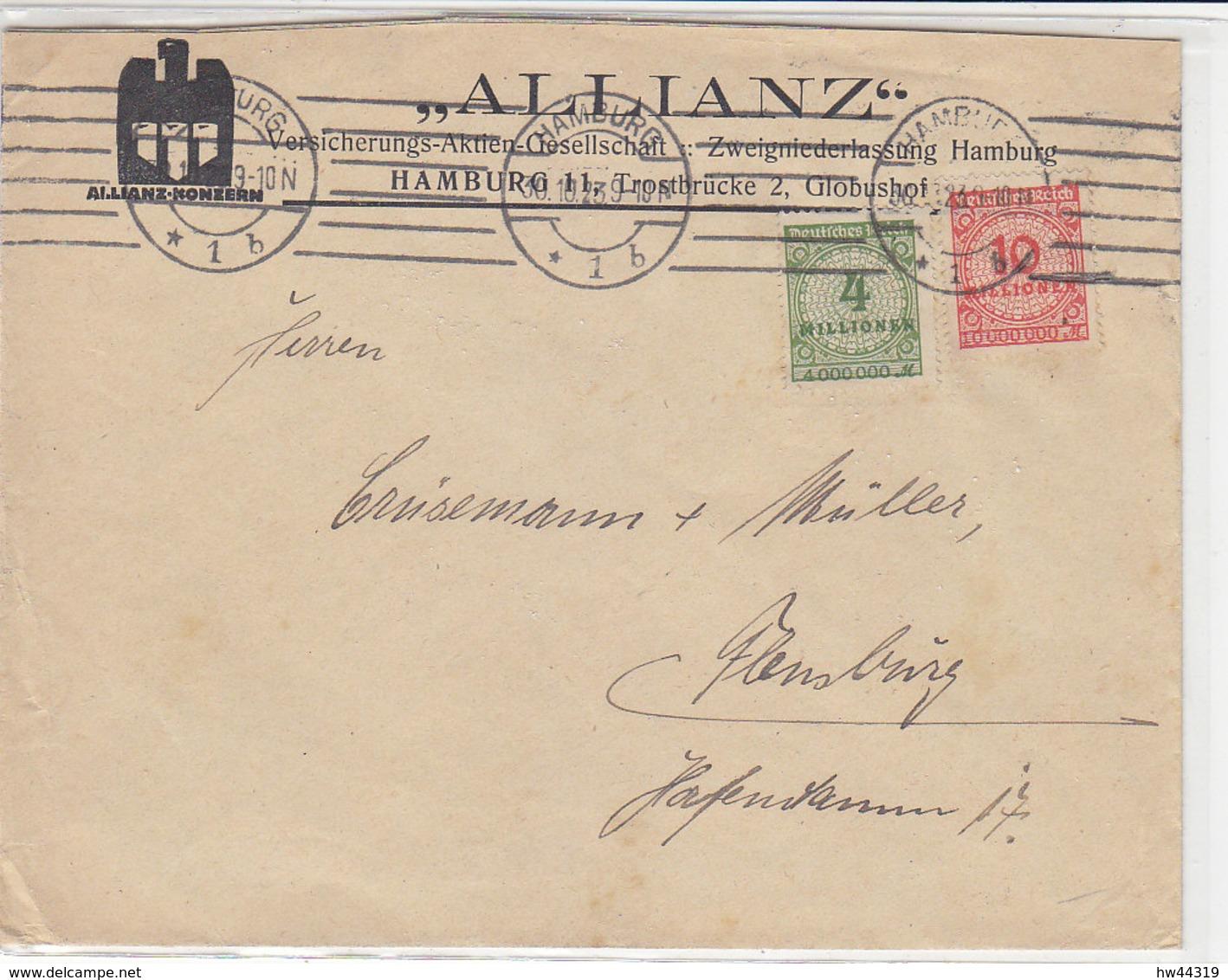 Brief Der ALLIANZ Mit 316A, 318 Aus HAMBURG 30.10.29 - Allemagne