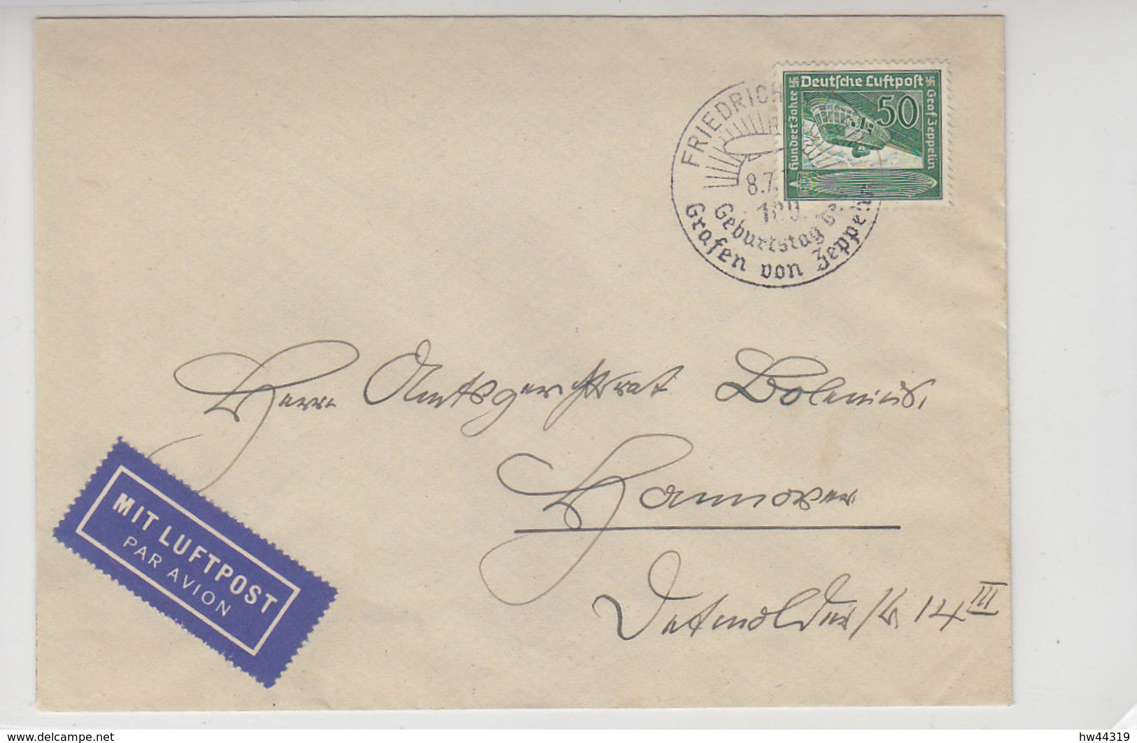 Luftpostbrief Mit 670 Aus FRIEDERICHSHAFEN 8.7.36 SST Zeppelin / Nach Hannover - Briefe U. Dokumente
