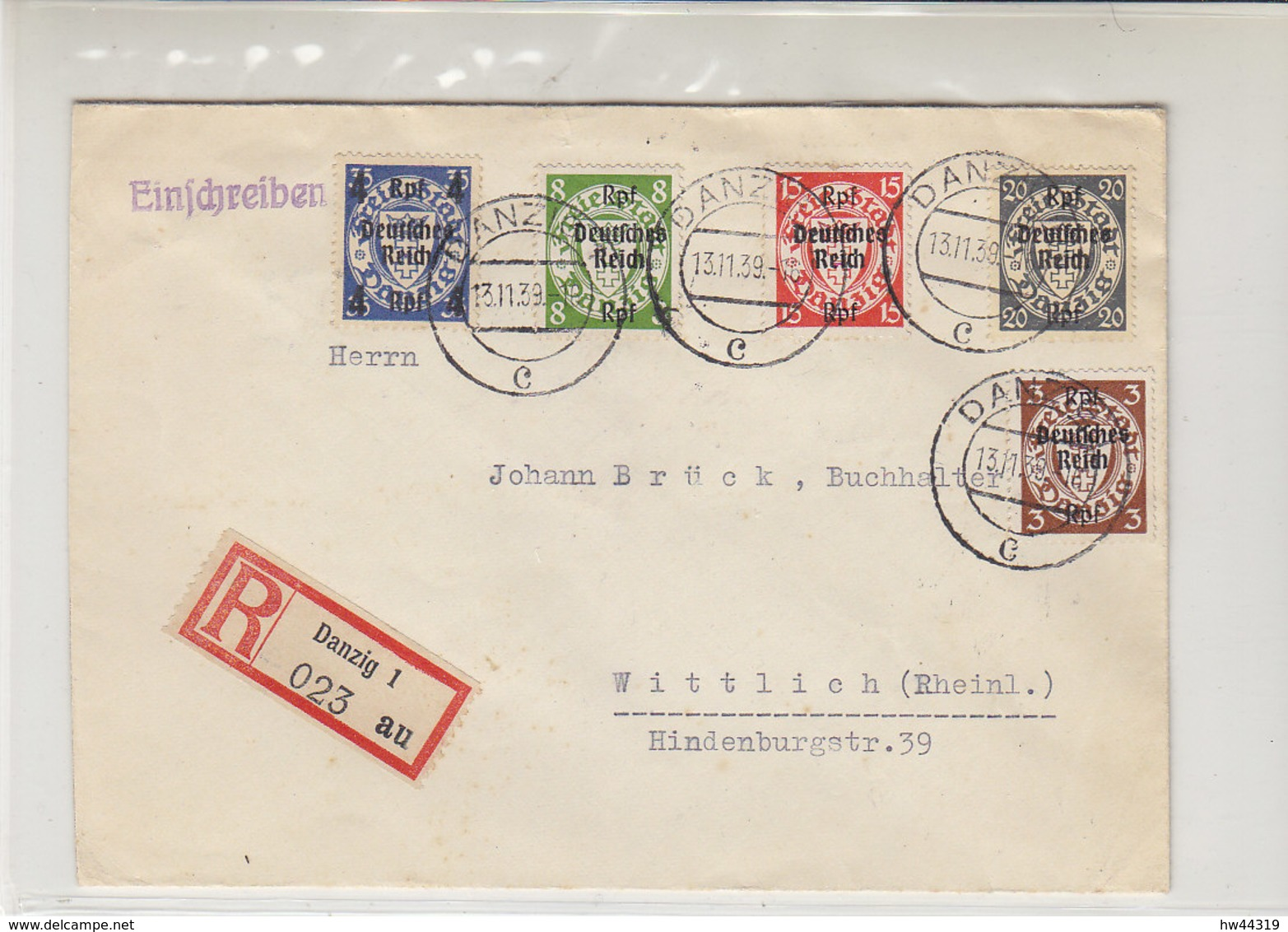 R-Brief Mit 716, 717, 719, 722, 723 Aus DANZIG 13.11.39 Nach Wittlich (Rheinland) - Briefe U. Dokumente