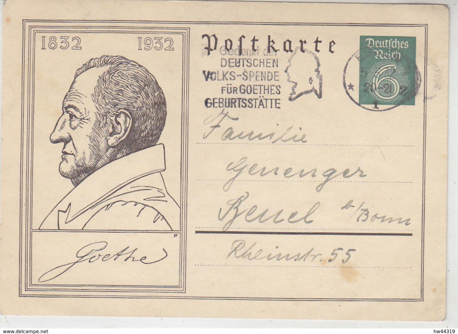 Goethe GS Und Passender Stempel Aus ESSEN 5.3.32 Nach Beuel B/Bonn - Briefe U. Dokumente