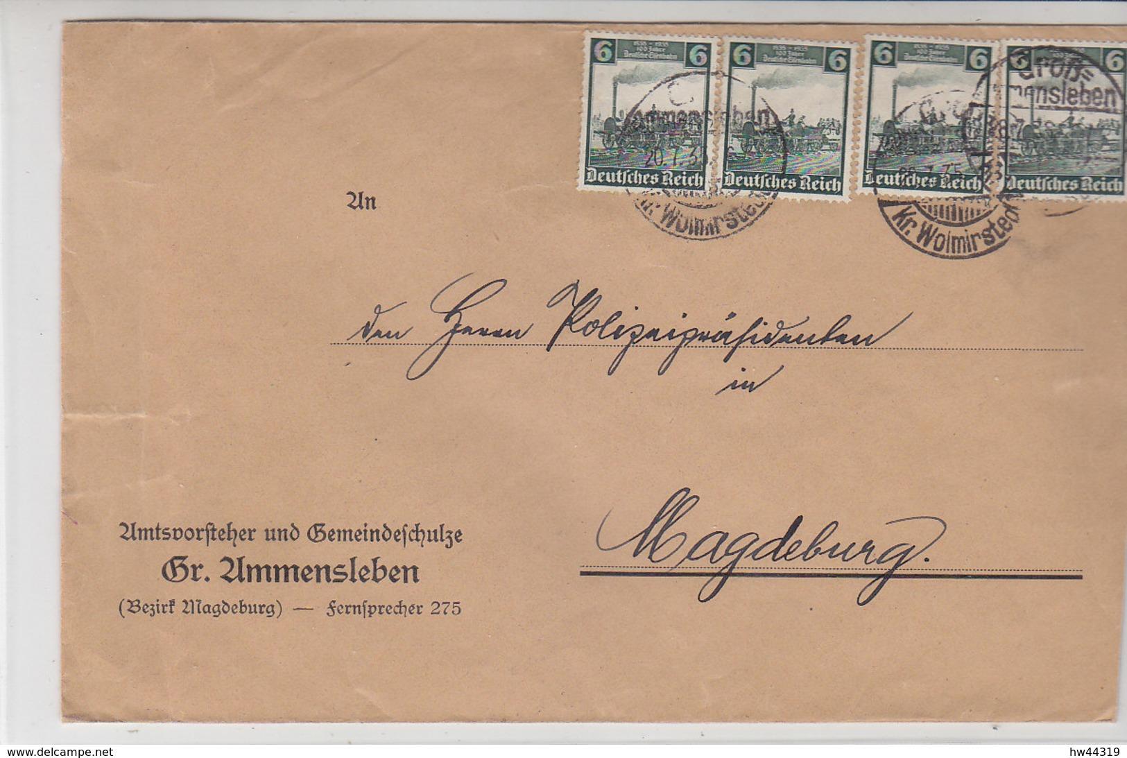 Grosser Brief Aus Groß-Ammensleben 20.7.35 Nach Magdeburg - Deutschland