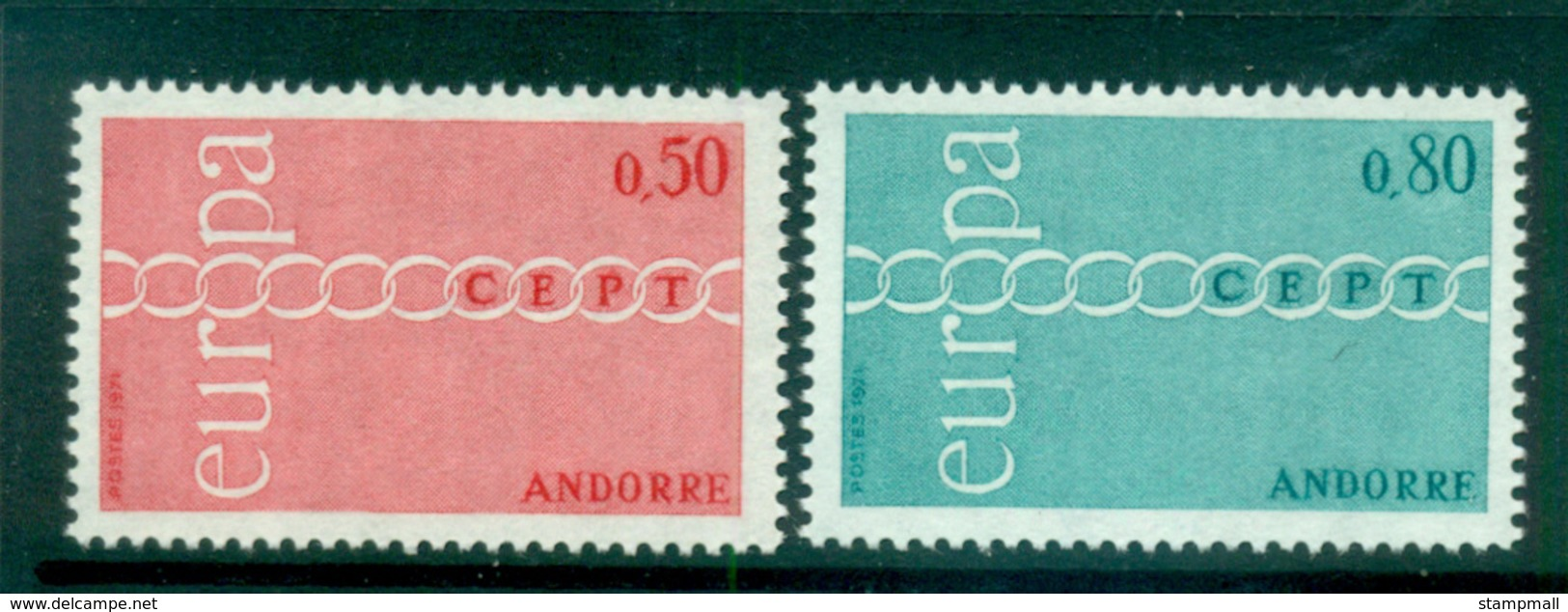 Andorra (Fr) 1971 Europa, Chain Through O MUH Lot65510 - Andorra Francesa