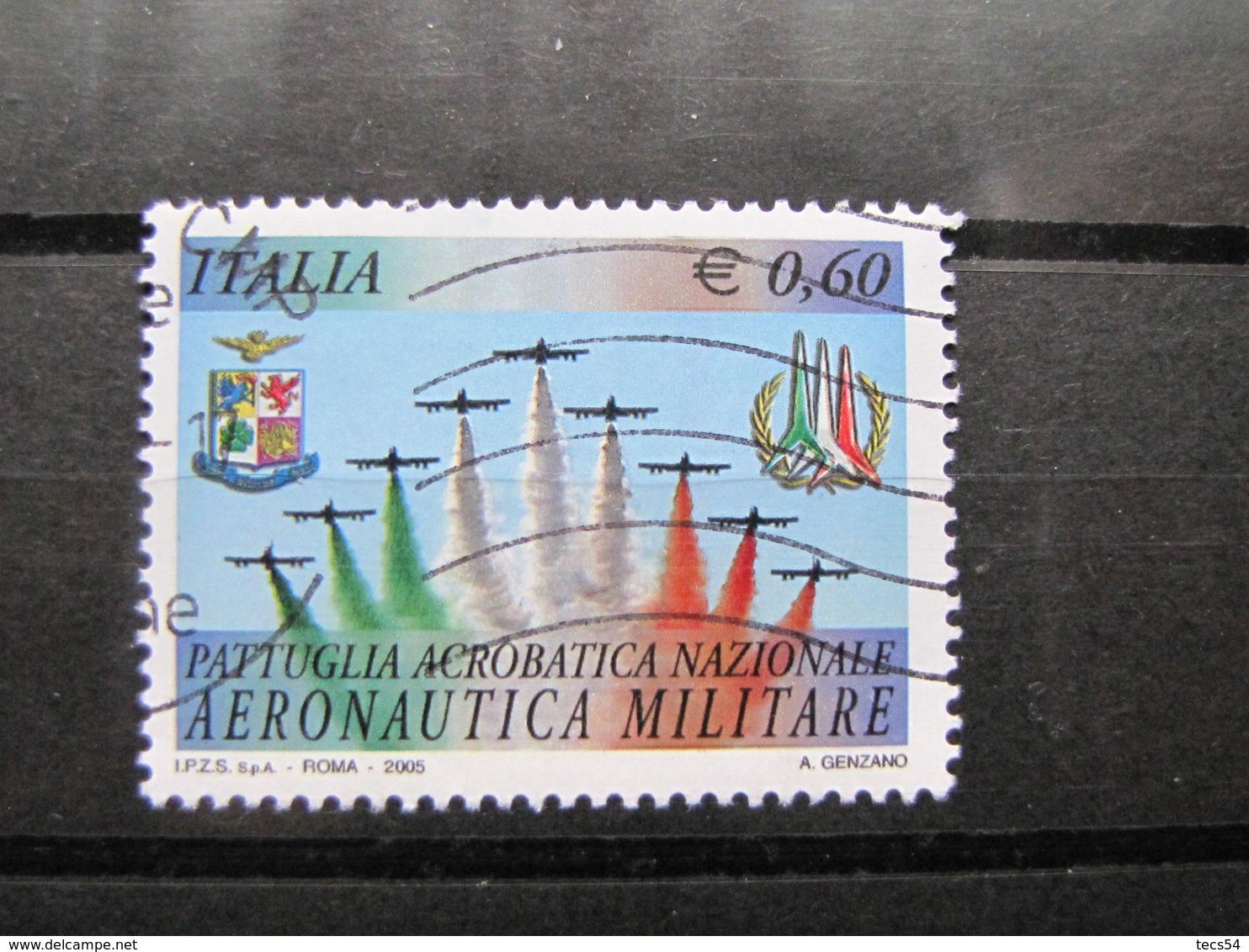 *ITALIA* USATI 2005 - FRECCE TRICOLORI - SASSONE 2837 - LUSSO/FIOR DI STAMPA - 6. 1946-.. Repubblica