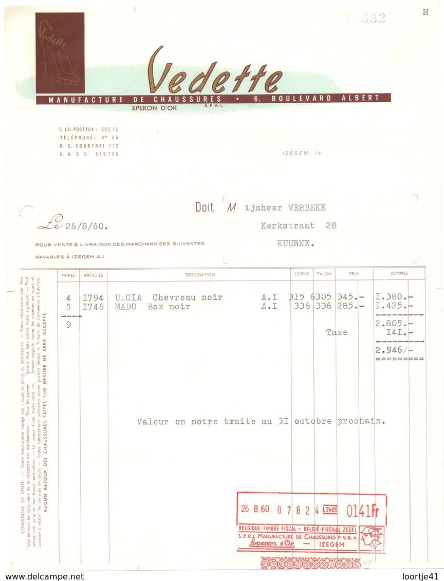 Factuur Facture - Schoenen - Schoenfabriek Vedette - Izegem - 1960 - Textile & Vestimentaire