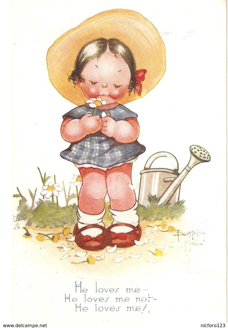 """Beatrice Mallet. He Loves Me. He Loves Me Not..."" Tuck Oiette Cute Kiddies Series PC # 3611 - Tuck, Raphael"