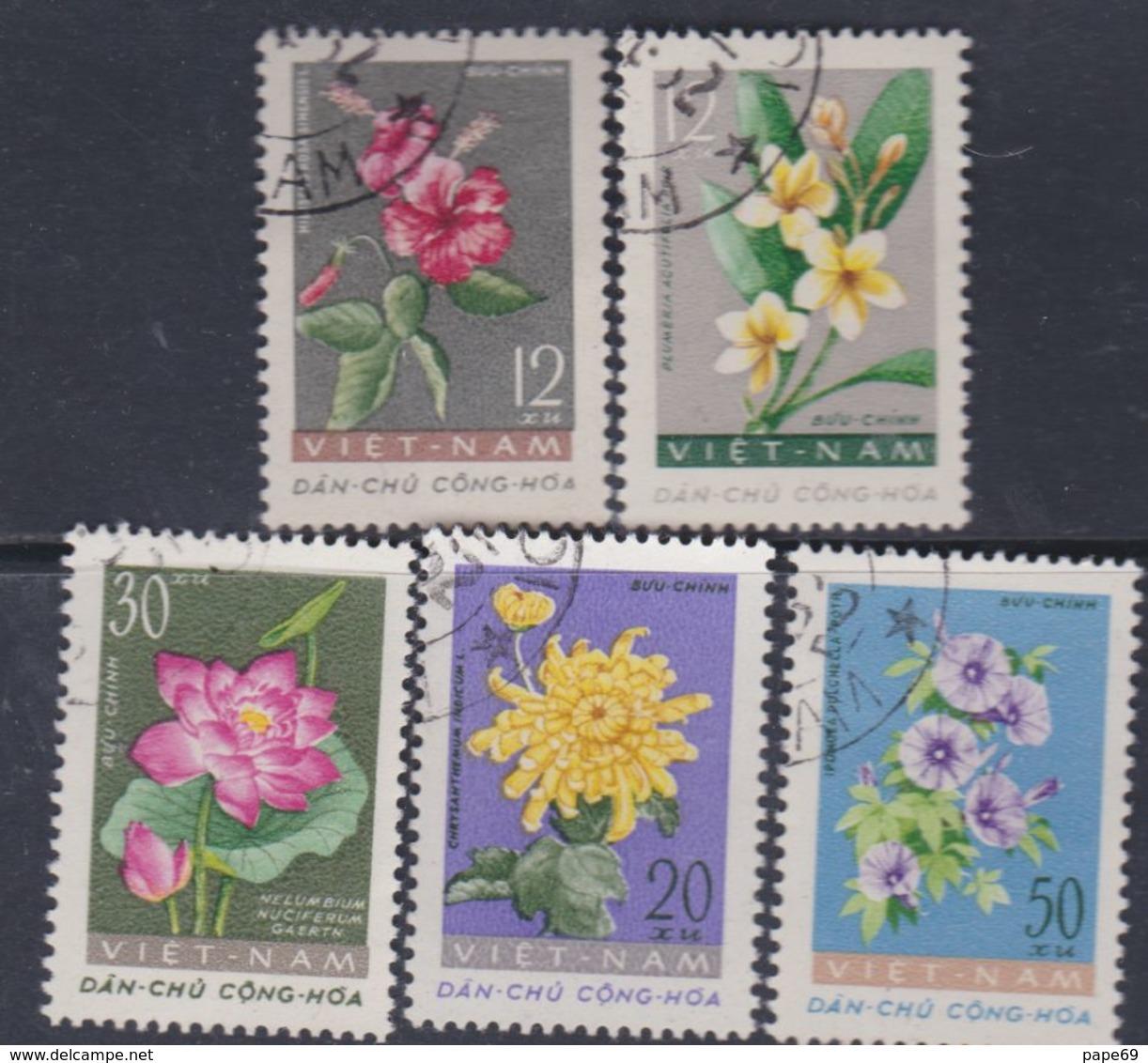 Viêt-Nam Du Nord N° 267 / 71 O : Fleurs Diverses Les 5 Valeurs Oblitérations Légères Sinon TB - Viêt-Nam