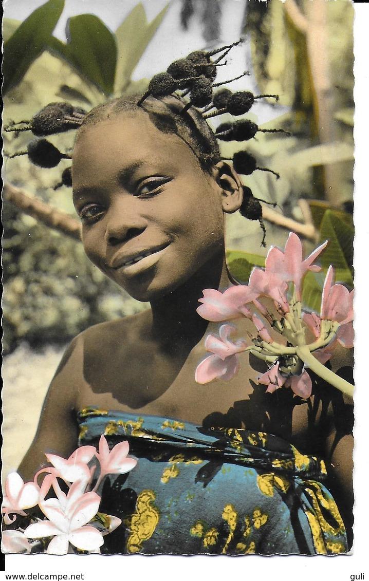AFRIQUE  Afrique  En Couleurs JEUNE FILLE (sourire Cheveux Coiffure) (HOA QUI 2755) *PRIX FIXE - Cartes Postales