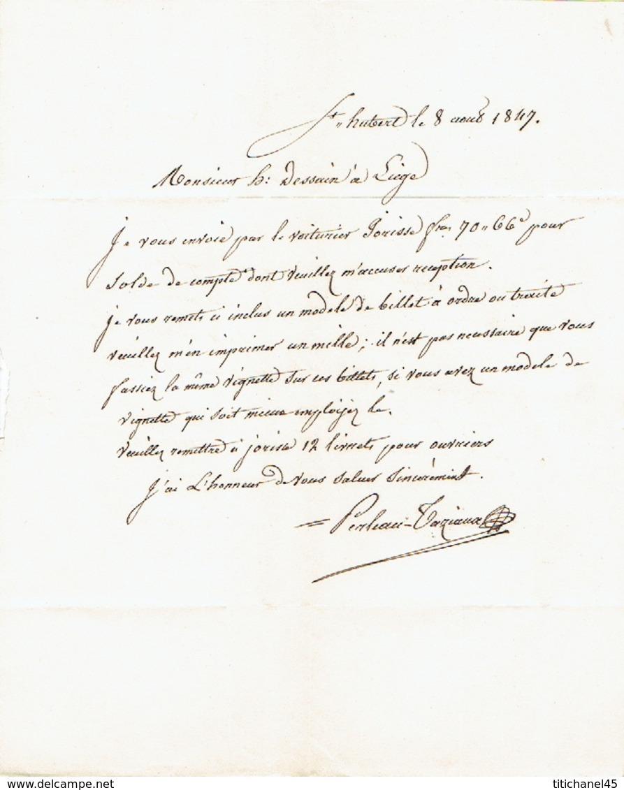 """Précurseur Du 8/8/1847 + Manuscrit """"avec 70frs66 """" Par Le Voiturier JORISSE De ST-HUBERT à LIEGE - Signé PERLEAU-TAZIAUX - 1830-1849 (Belgique Indépendante)"""