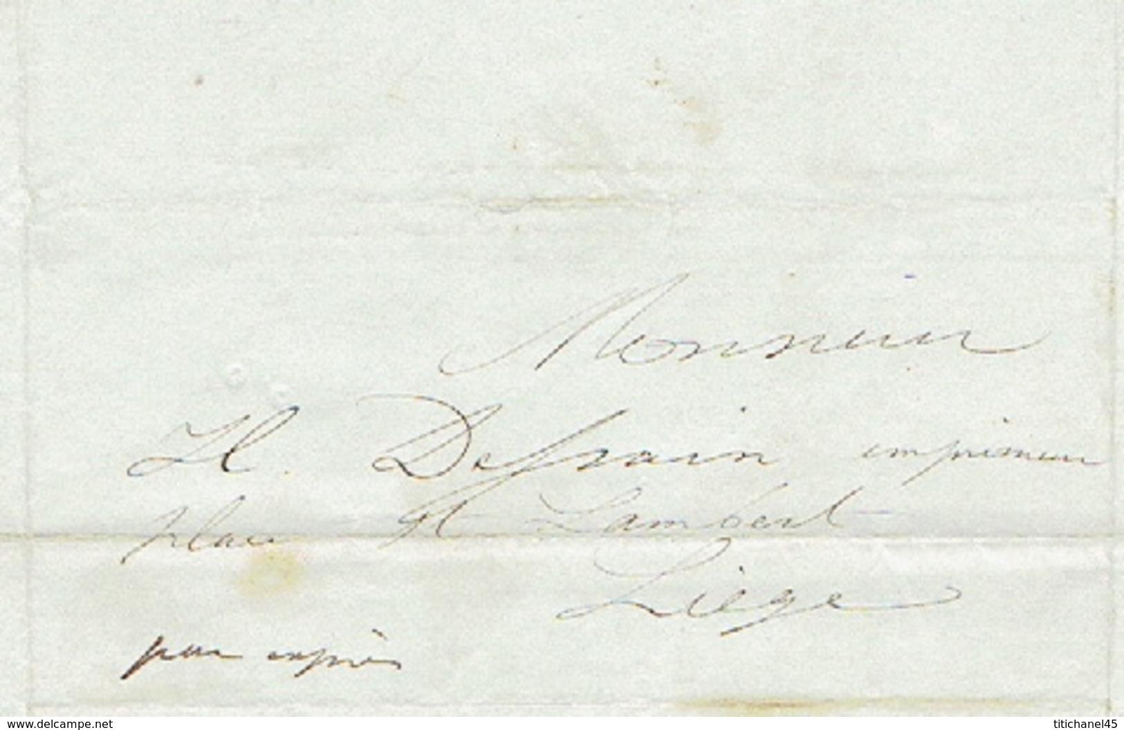 """Précurseur Du 4/8/1849 + Manuscrit """"par Exprès"""" Par Le Messager FEYEREISEN De HOUFFALIZE à LIEGE - Signé BIERME Libraire - 1830-1849 (Belgique Indépendante)"""