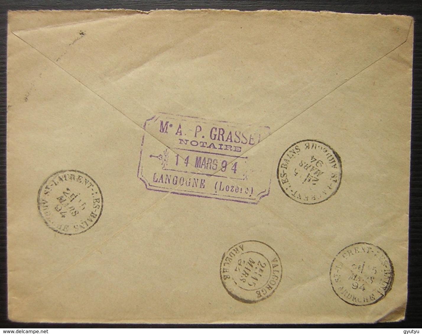 Langogne (Lozère) 1894 Auguste Grasset, Notaire Lettre Pour Valgorge (Ardèche), Cachet à L'arrière - Marcophilie (Lettres)
