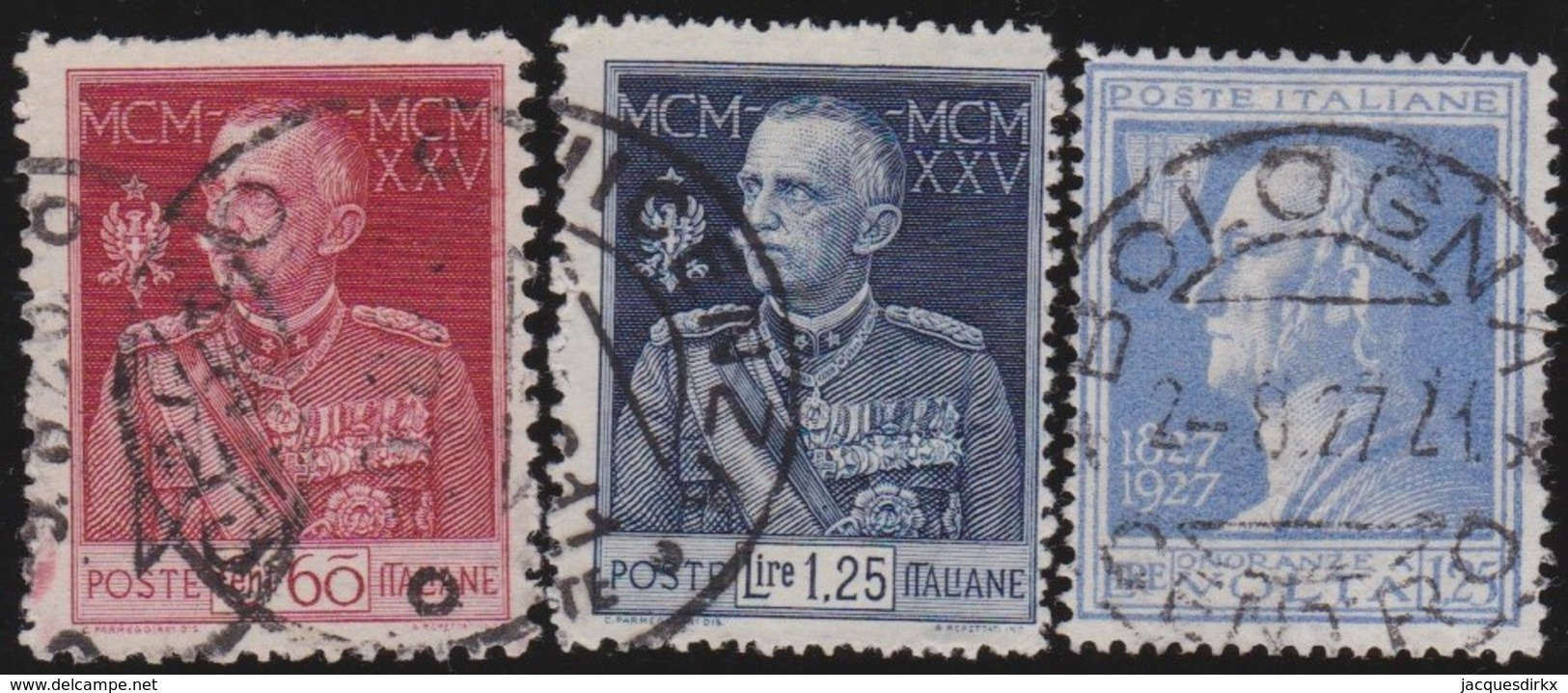 Italy      .   Yvert     .  3  Stamps       .  O     .   Cancelled  .   /    .  Oblitéré - 1900-44 Vittorio Emanuele III