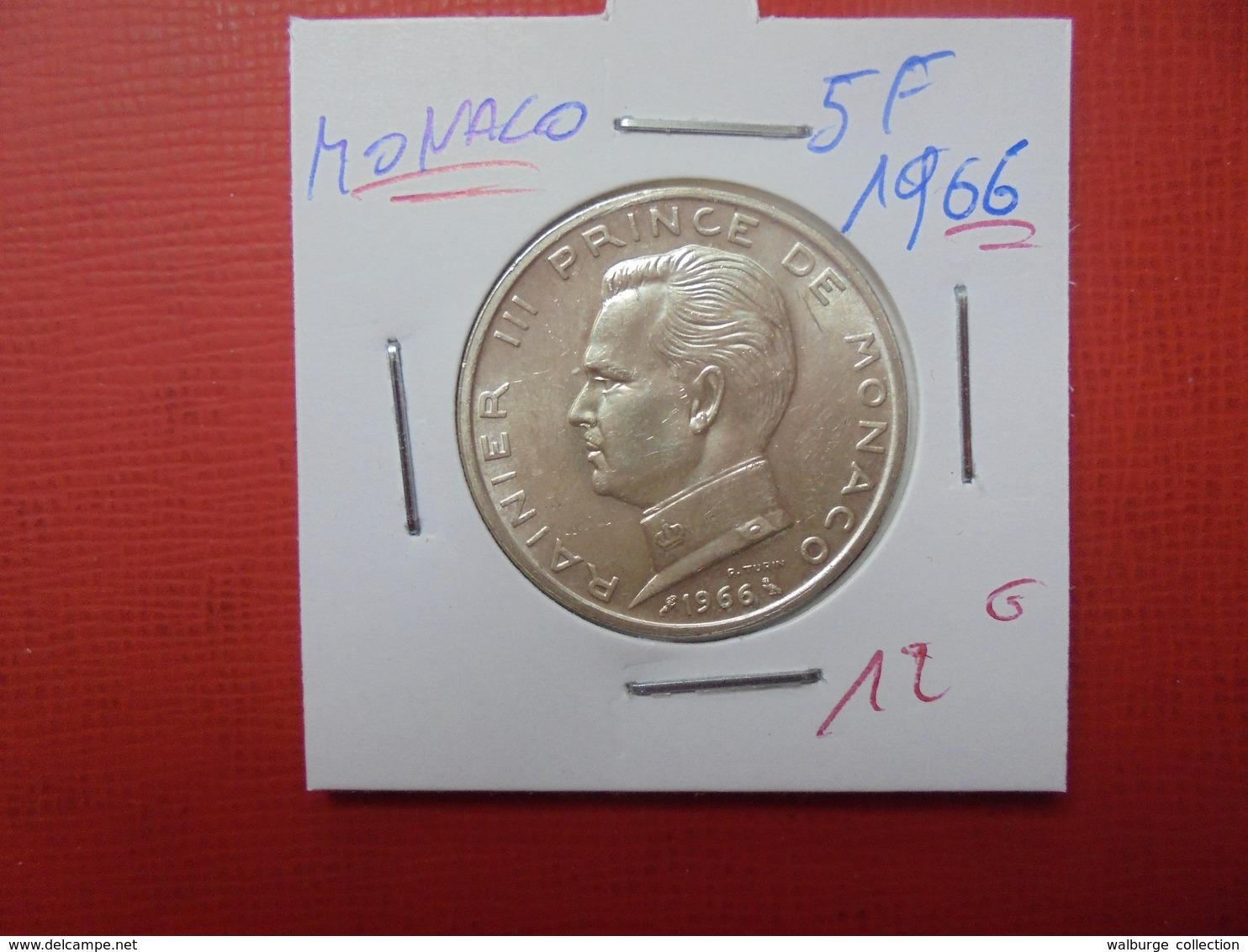 MONACO 5 Francs 1966 ARGENT - Monaco