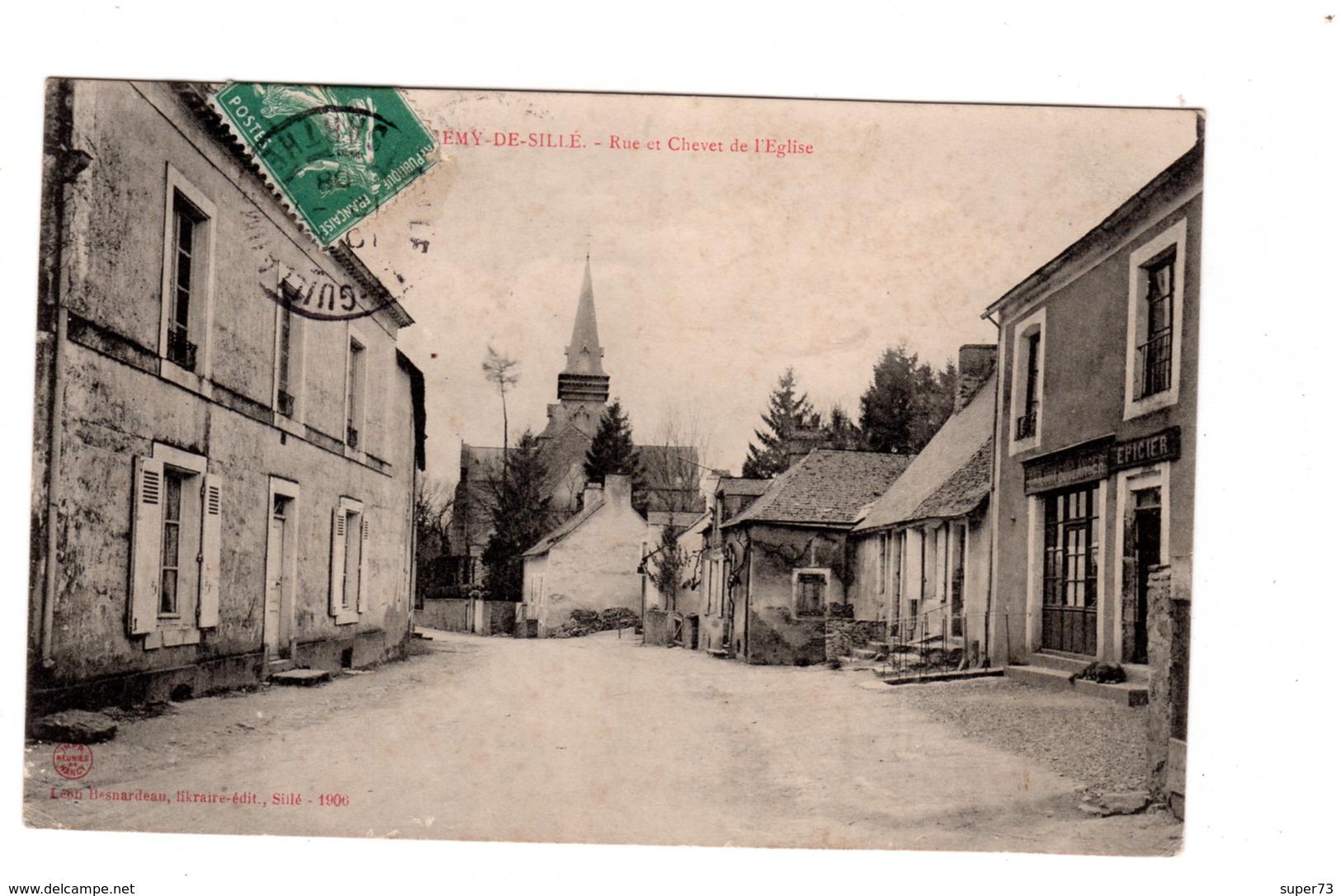 CPA 72 - Saint Remy De Sillé - Rue Et Chevet De L'eglise - Autres Communes