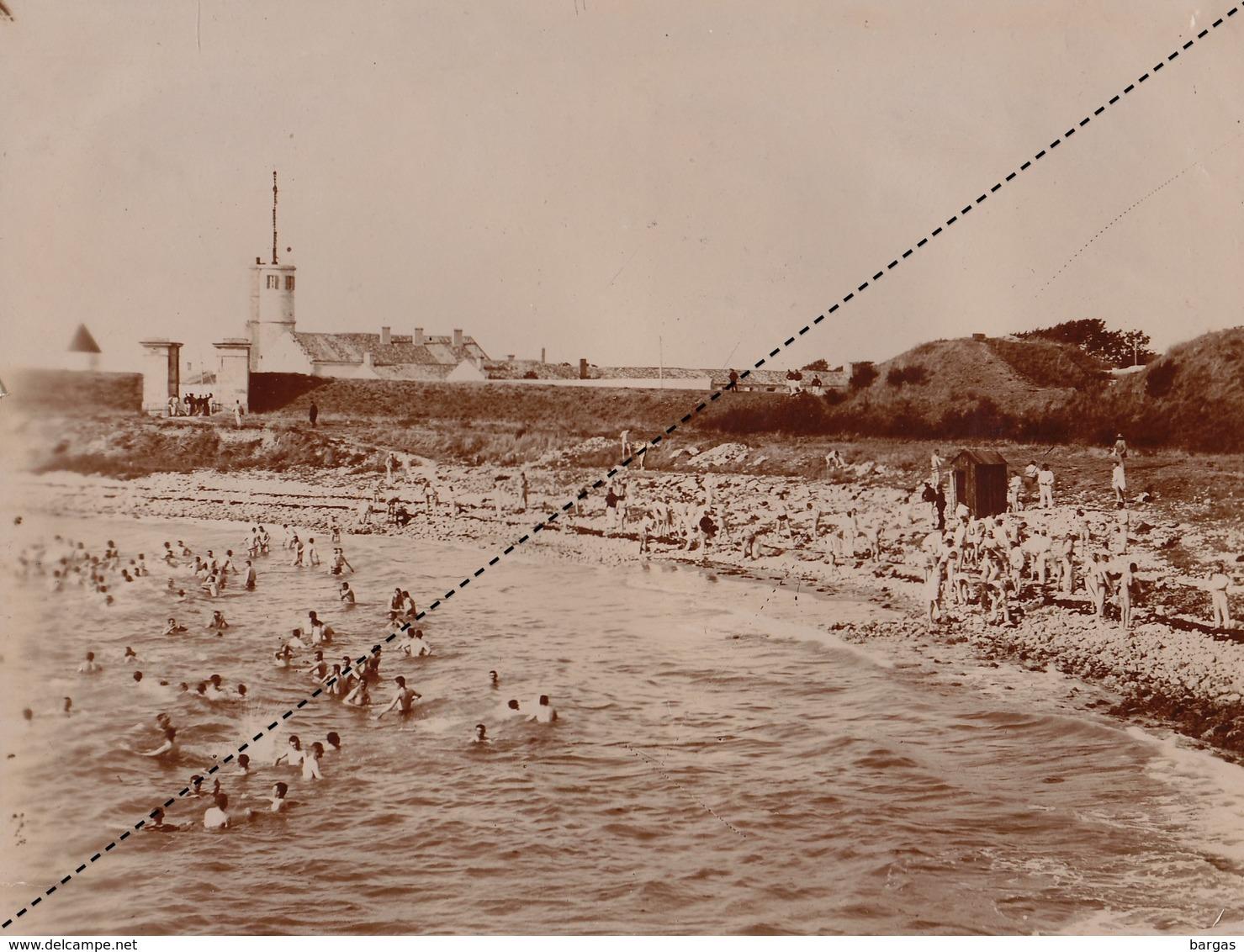Grande Photo Militaire Militaires Fort Camp De ... Bain De Mer Bains Vers 1895 - Guerre, Militaire