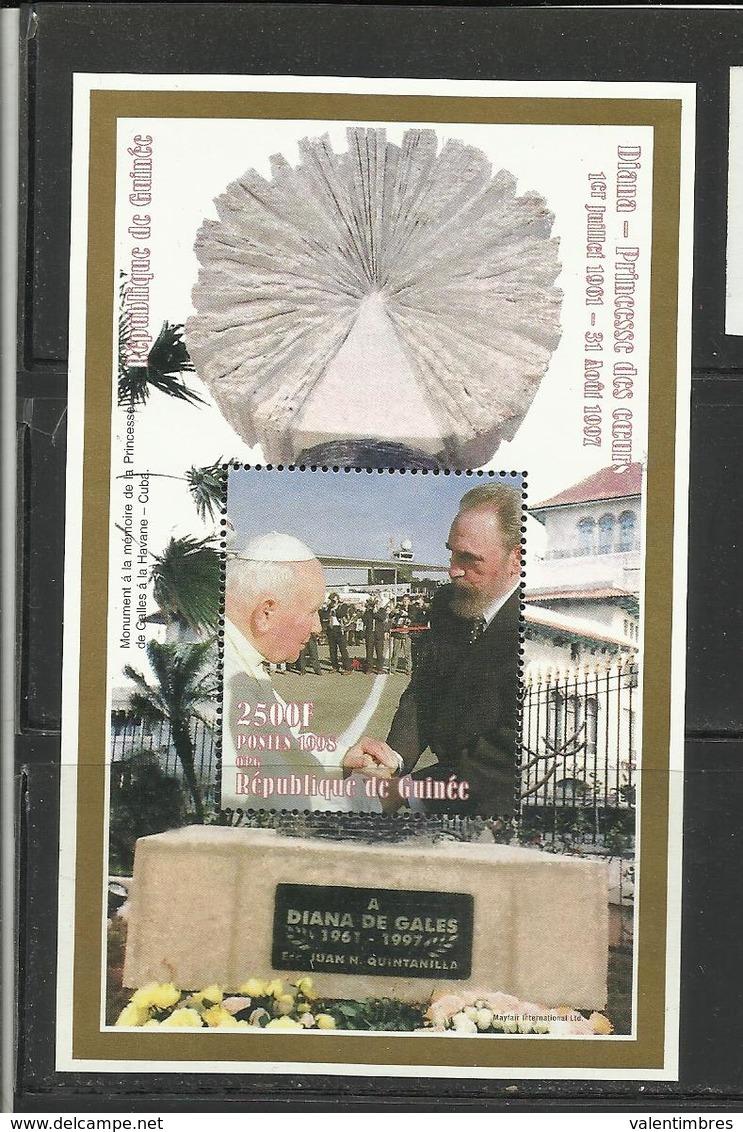 Pape Papst Pope Papa Papiez  Jean Paul II Guinée YT BF 127 Fidel Castro - Pausen