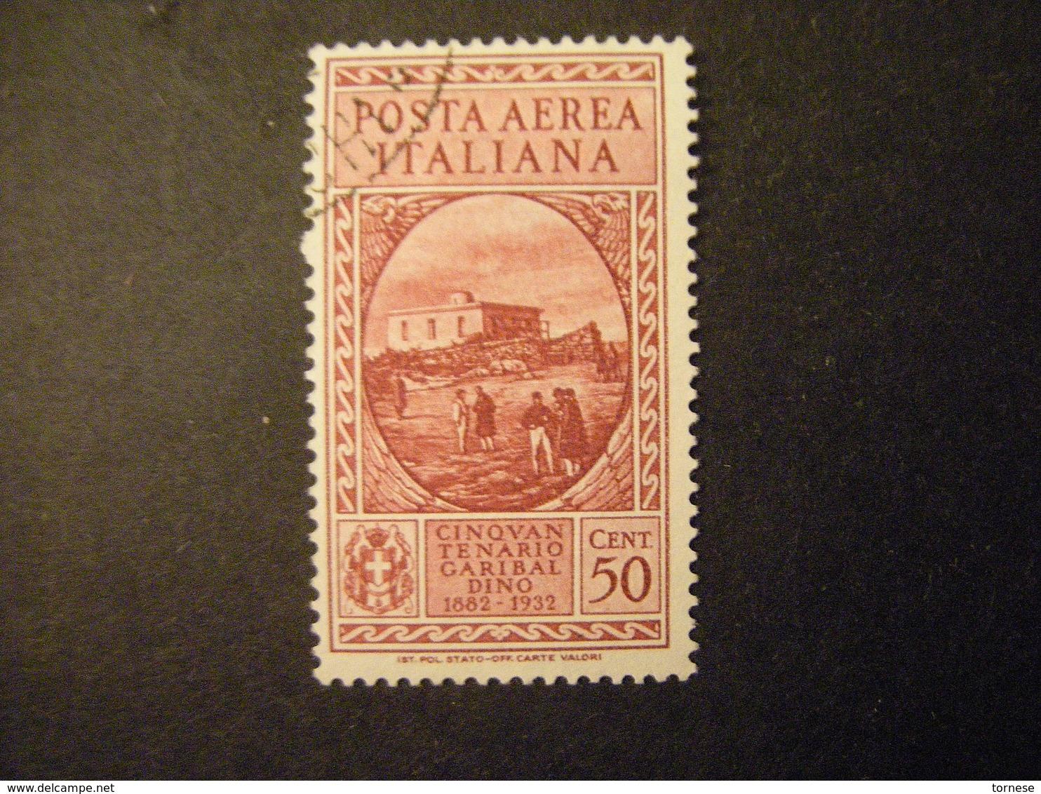 1932 - GARIBALDI , Posta Aerea , Cent. 50 Usato, TTB,  OCCASIONE - 1900-44 Vittorio Emanuele III