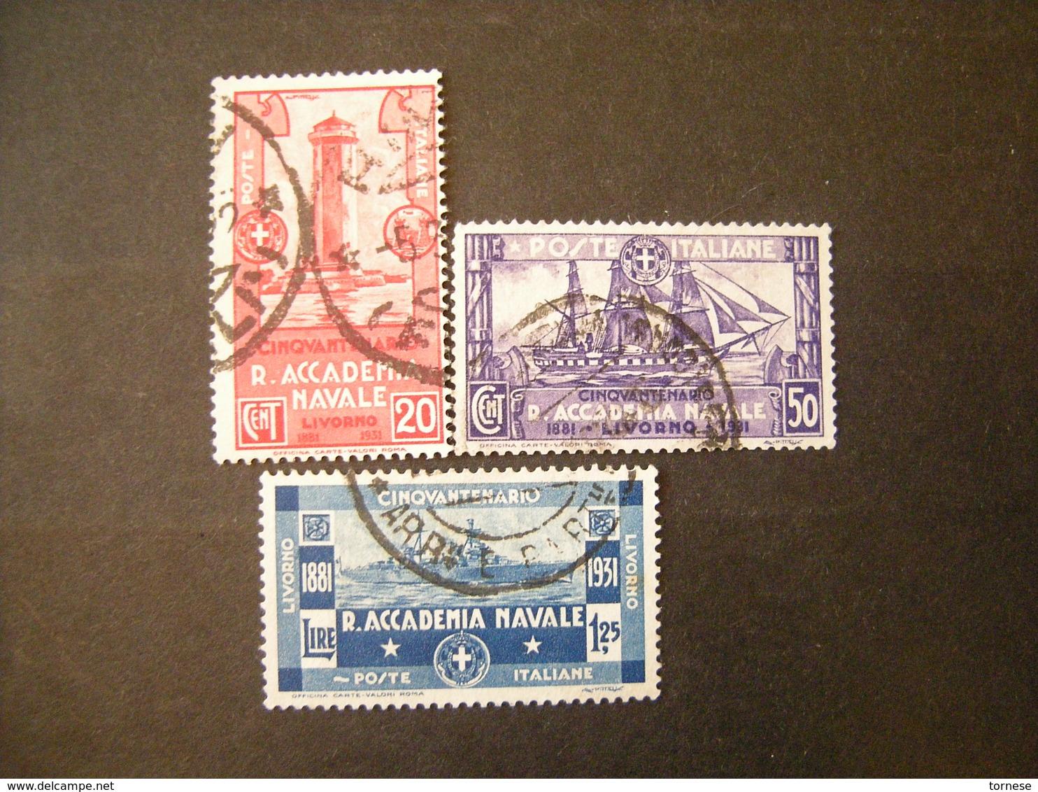 SVENDITA 1931 - ACCADEMIA NAVALE , Serie Compl Usata, 3 Val. TTB,  OCCASIONE - Usati