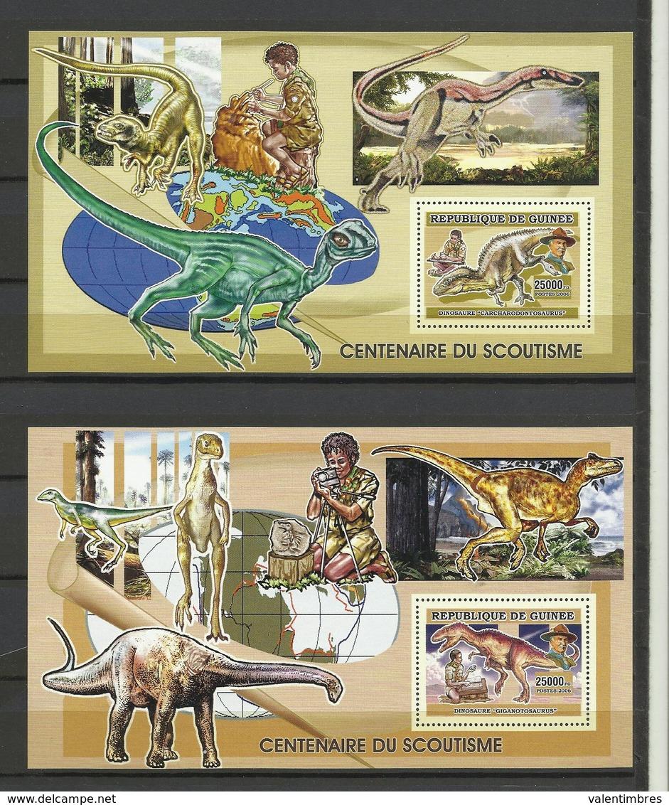 Guinée YT **BF 337/38 DINOSAURES Centenaire Scoutisme Scout Baden Powell - Prehistorisch