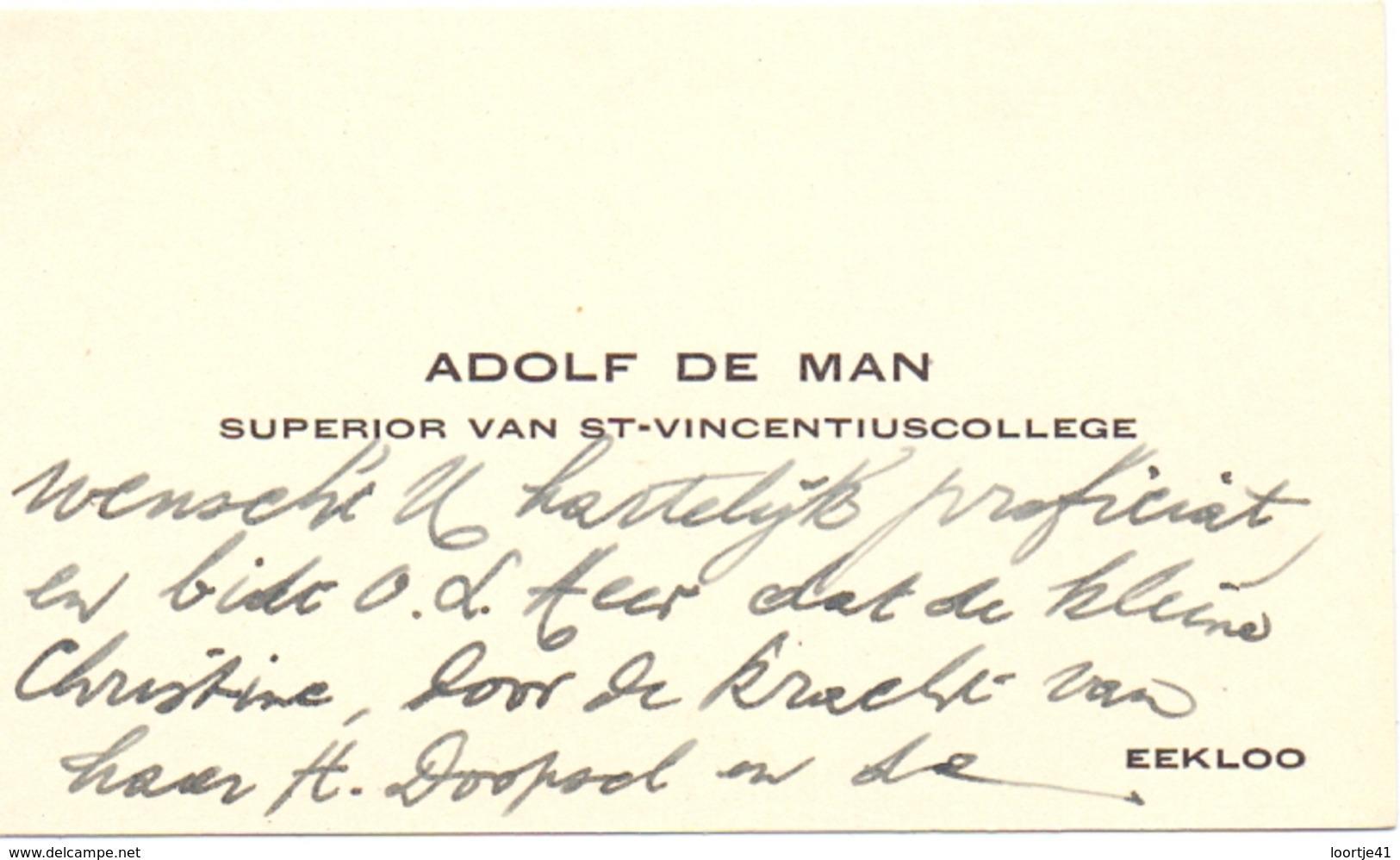 Visitekaartje - Carte Visite - Superior St Vincentiuscollege Adolf De Man - Eeklo - Cartes De Visite