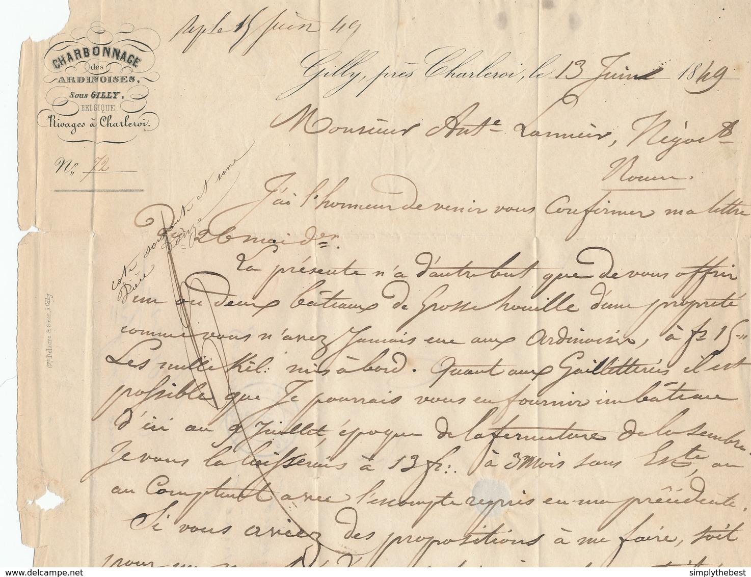 498/28 - CHARBONNAGES - Lettre Précurseur CHARLEROI 1849 Vers ROUEN - Marque PD De Port Payé - Verso 3/3 = 6 Décimes - 1830-1849 (Belgique Indépendante)