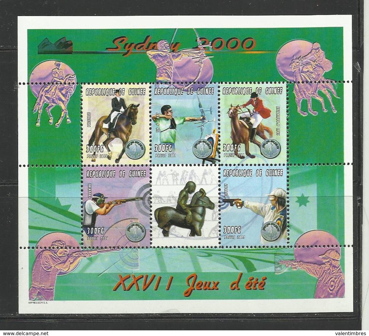 Guinée  Jeux Olympiques Sydney 2000 YT **1864 AM/AR équitation Cheval Tir à L Arc &au Pistolet - Zomer 2000: Sydney