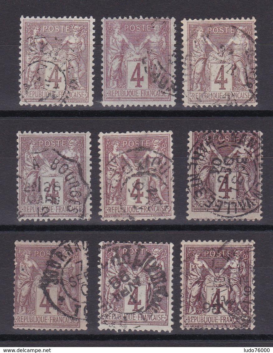 D335/ SAGE N° 88 OBL / 9 TIMBRES - 1876-1898 Sage (Type II)
