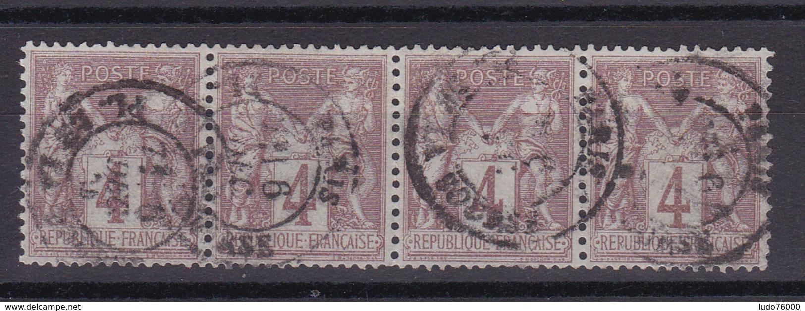 D335/ SAGE N° 88 OBL / BANDE DE 4 - 1876-1898 Sage (Type II)