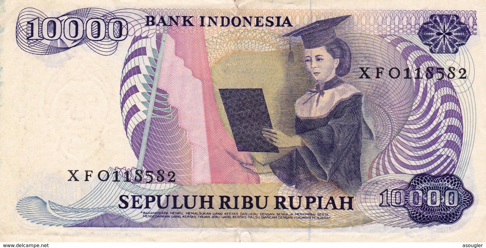 """INDONESIA 10000 Rupiah 1985  P-126a VF Replacement Note Perfix """"X"""" """"free Shipping Via Registered Air Mail"""" - Indonésie"""