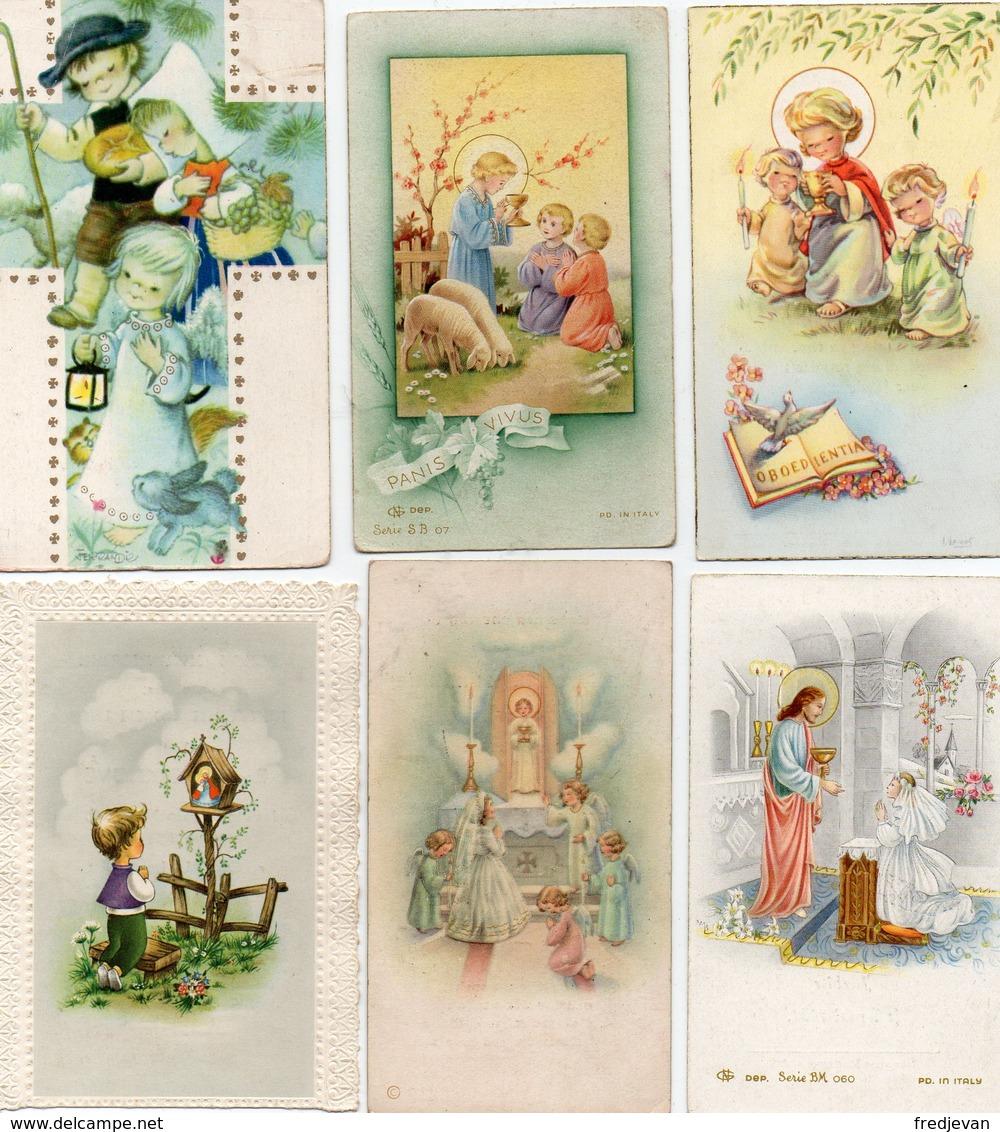 Lot Van 6 Kommunie Kaartjes (van 1958 - 1961 - 1962 En 1963) - Images Religieuses
