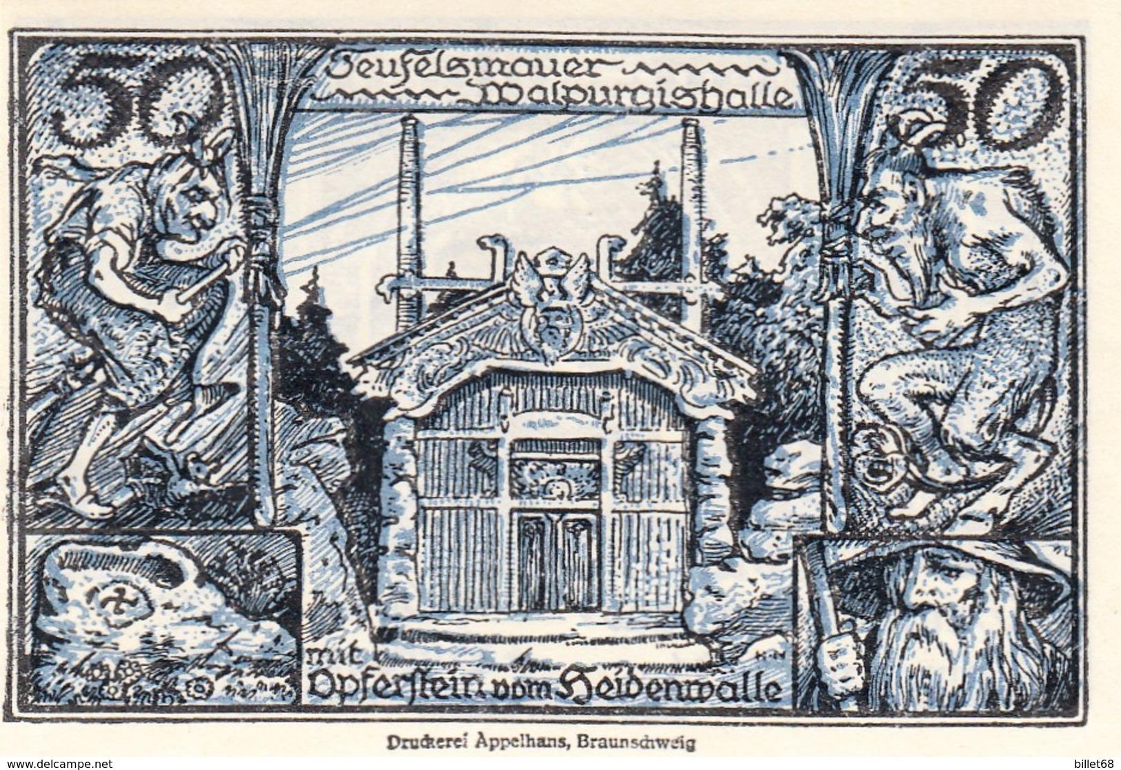 Billet Allemand - 50 Pfennig - Thale Am Harz 1922 - Stadtwappen, Teufelsmauer Et Walpurgishalle - [11] Local Banknote Issues