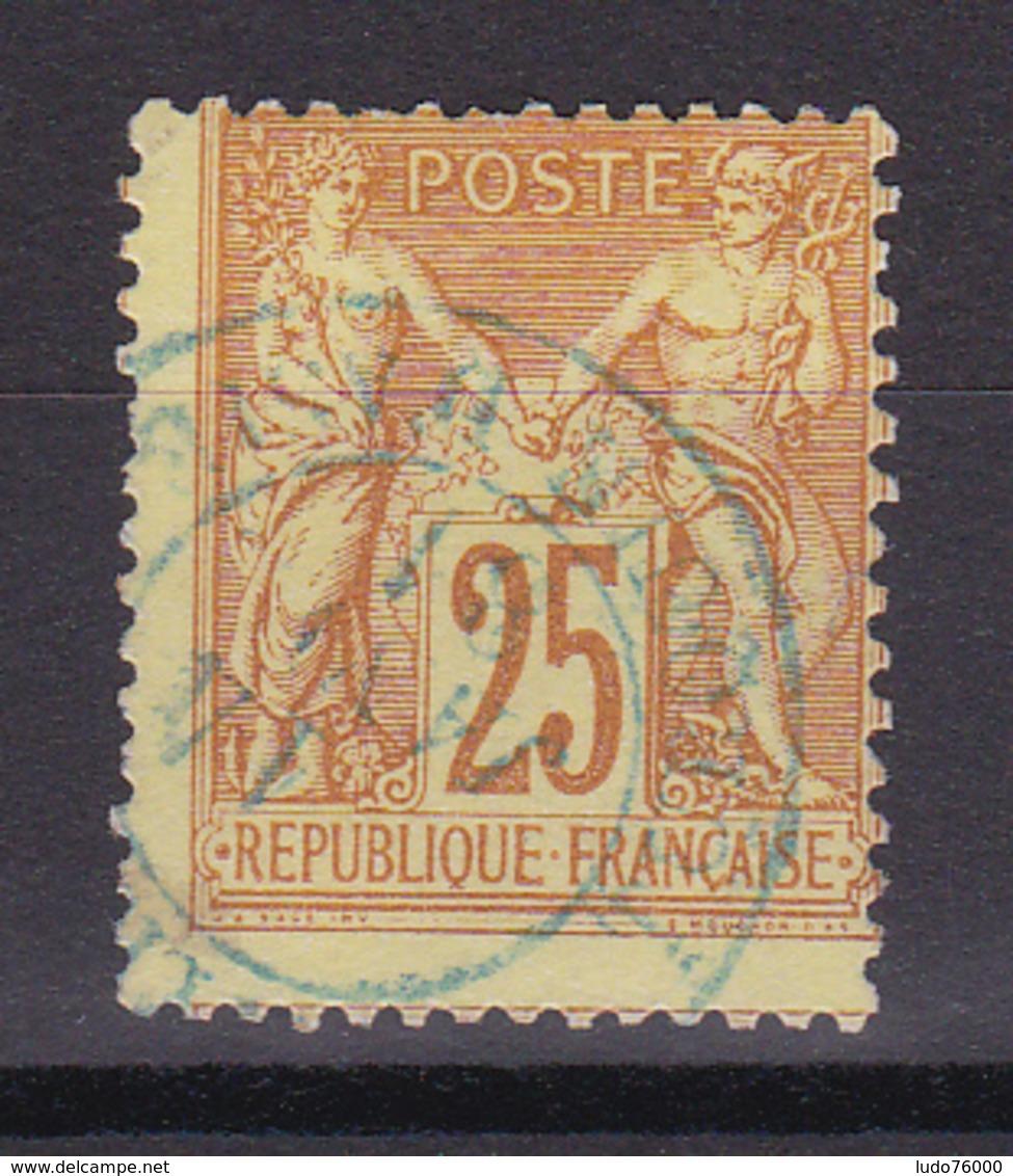 D336/ SAGE N° 92 OBL COTE 20€ / CACHET BLEU - 1876-1898 Sage (Type II)