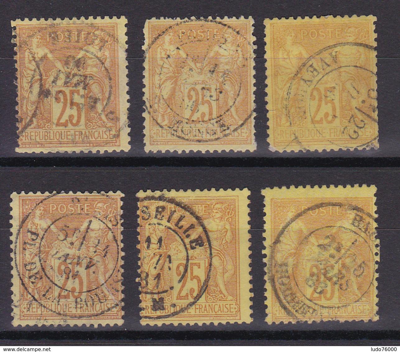 D336/ SAGE N° 92 OBL / 6 TIMBRES - 1876-1898 Sage (Type II)